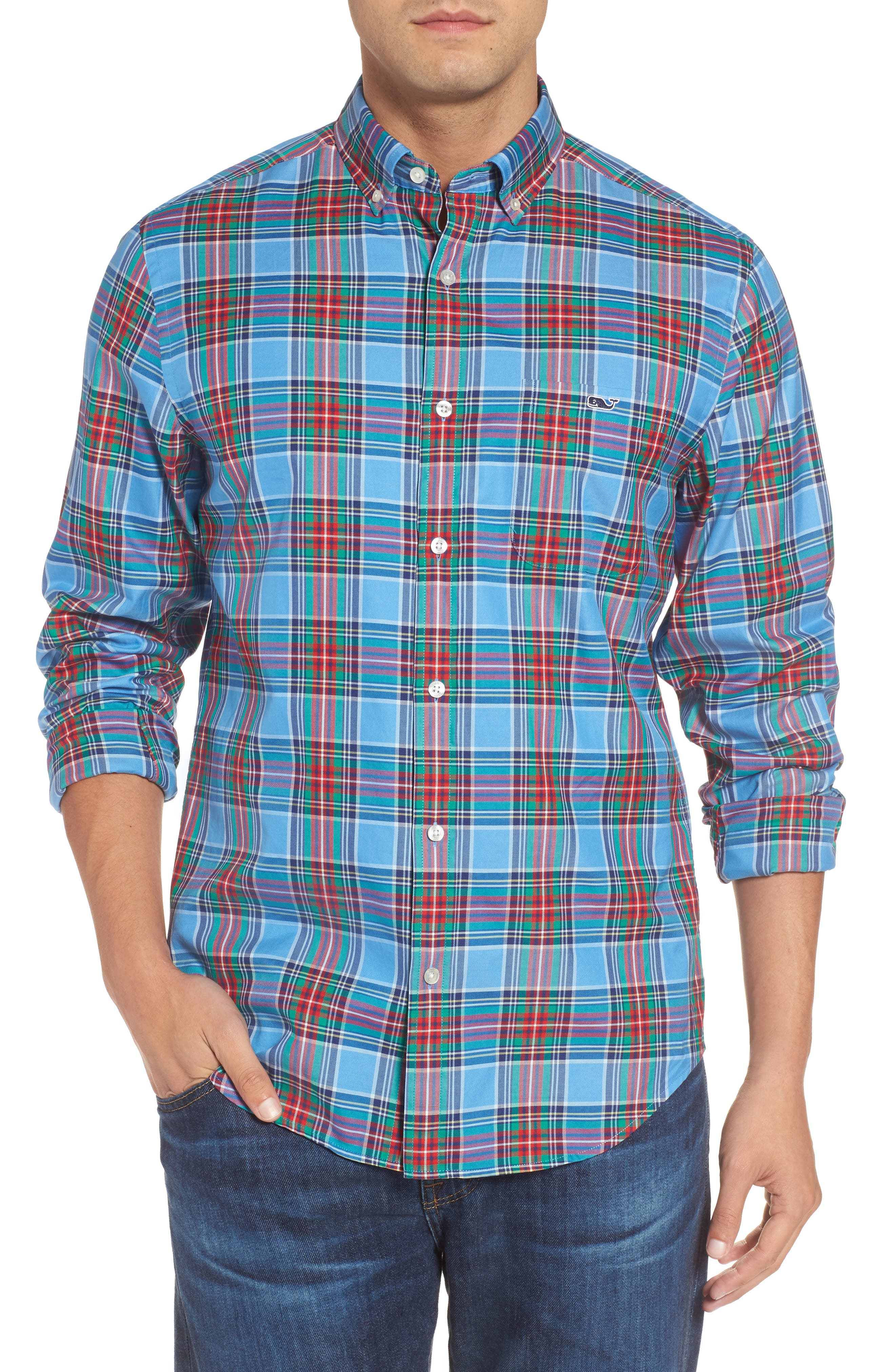 Alternate Image 1 Selected - vineyard vines Tucker Belmont Classic Fit Plaid Sport Shirt