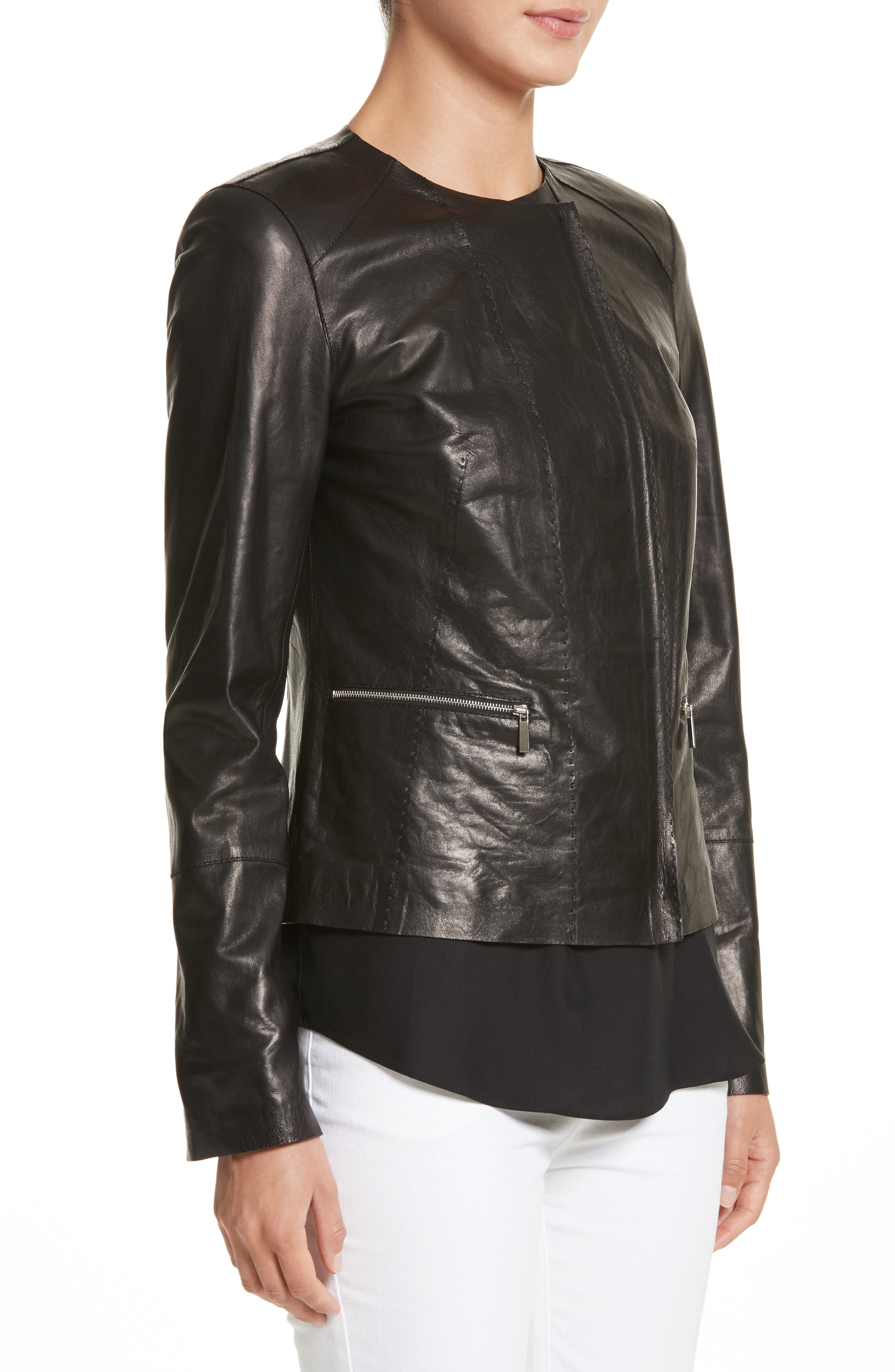 Alternate Image 4  - Lafayette 148 New York Caridee Glazed Lambskin Leather Jacket