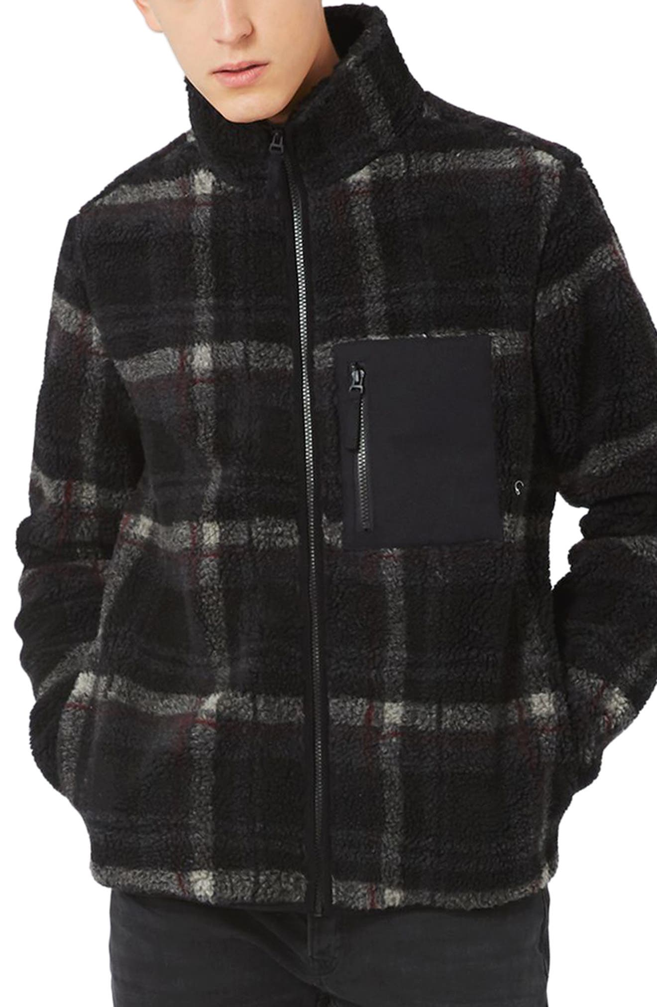 Main Image - Topman Check Borg Zip Front Jacket