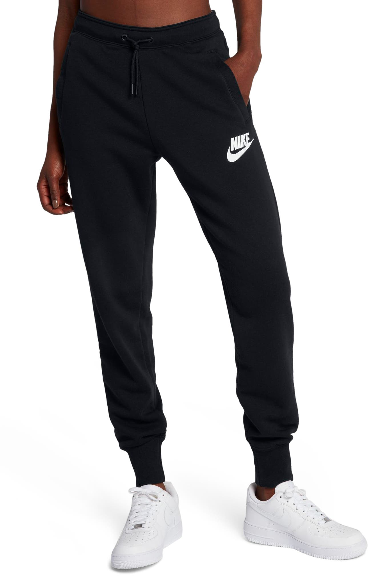 Sportswear Rally Fleece Pants,                         Main,                         color, Black/ Black/ White