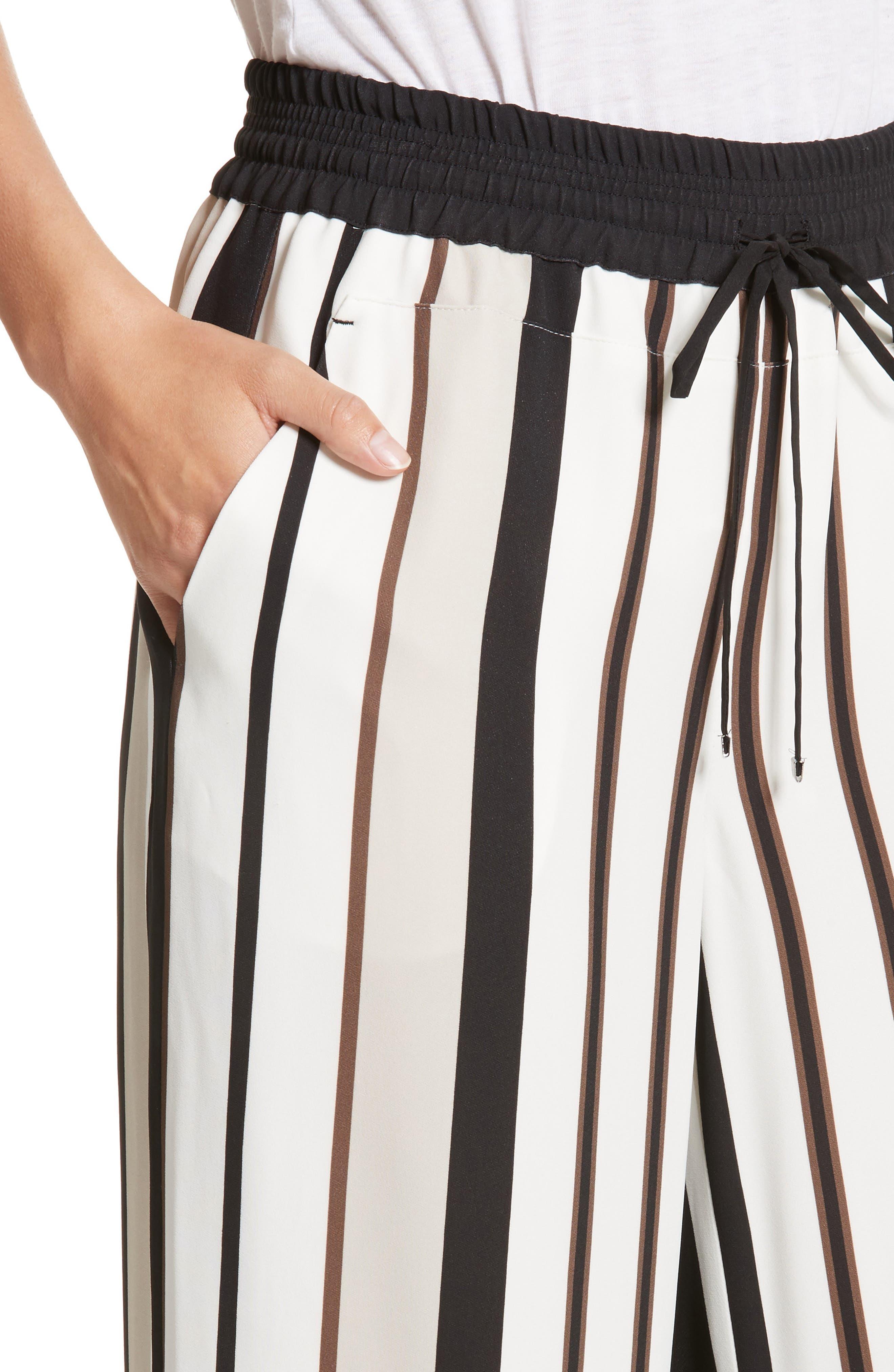 Allen Legacy Stripe Drape Cloth Pants,                             Alternate thumbnail 4, color,                             Black Multi