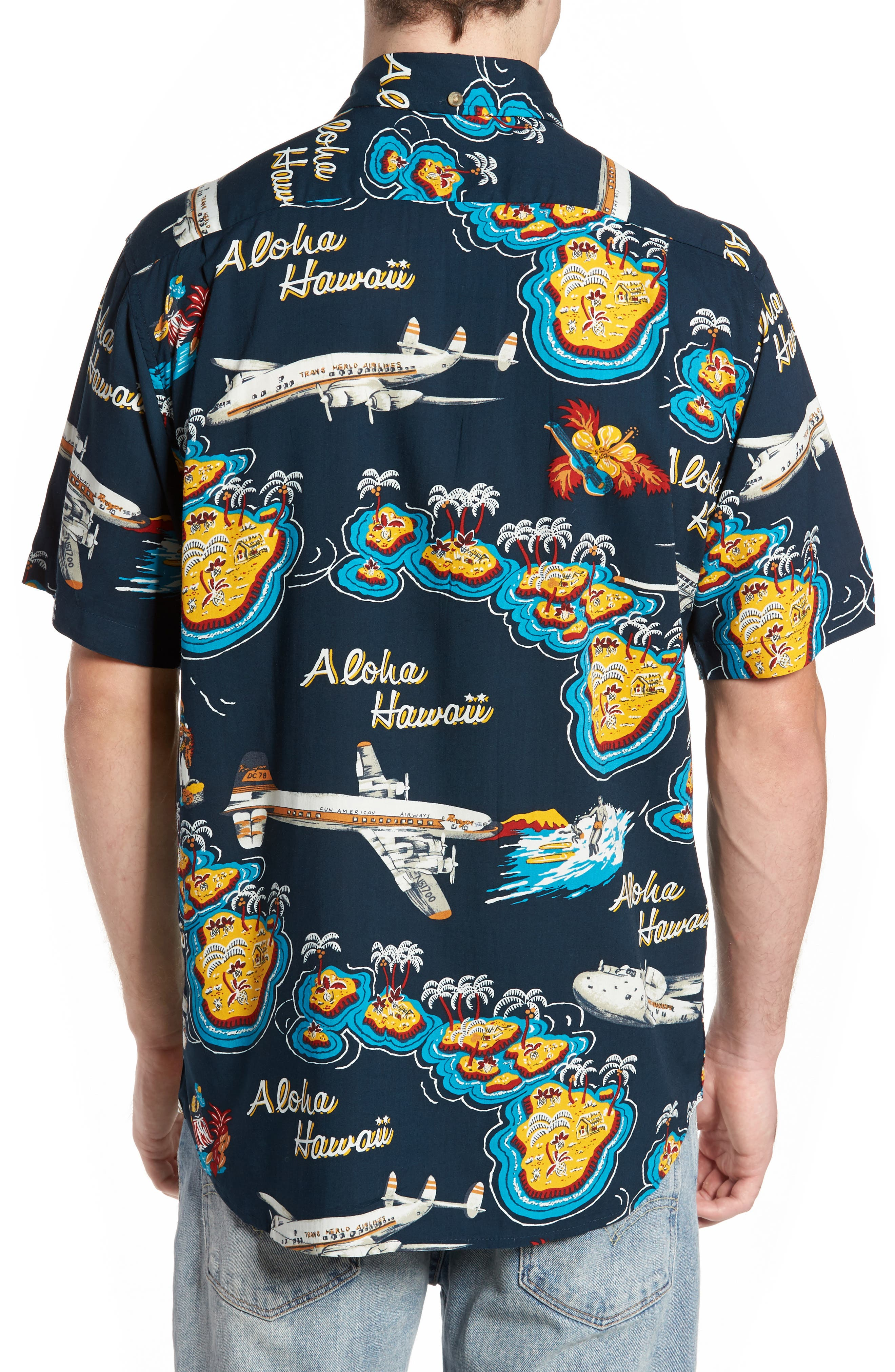 Birds in Paradise Modern Fit Shirt,                             Alternate thumbnail 2, color,                             Navy
