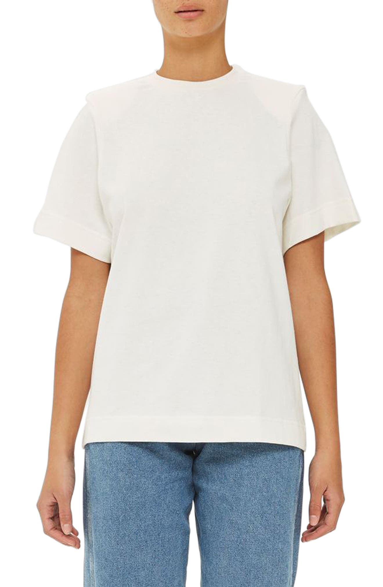 Power Shoulder Tee,                         Main,                         color, White