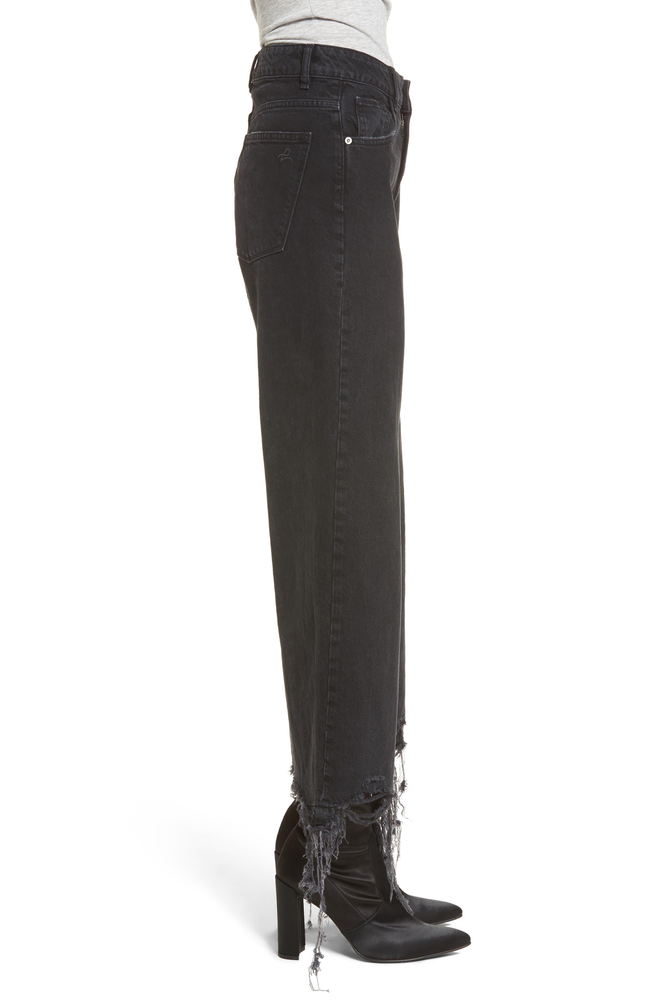 Hepburn High Waist Wide Leg Jeans,                             Alternate thumbnail 3, color,                             Savannah Destroy