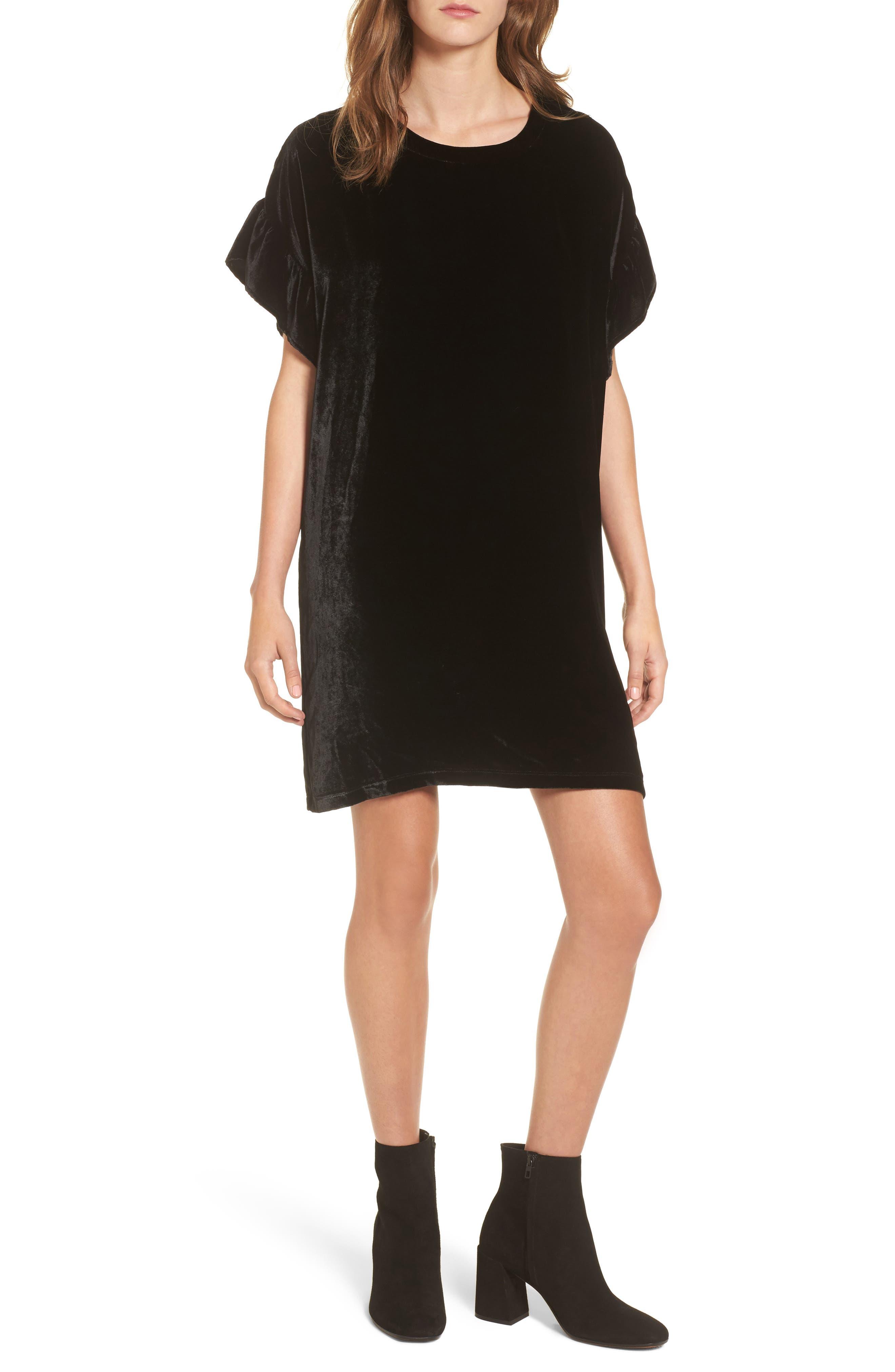 The Janie Velvet Shift Dress,                         Main,                         color, Black Velvet