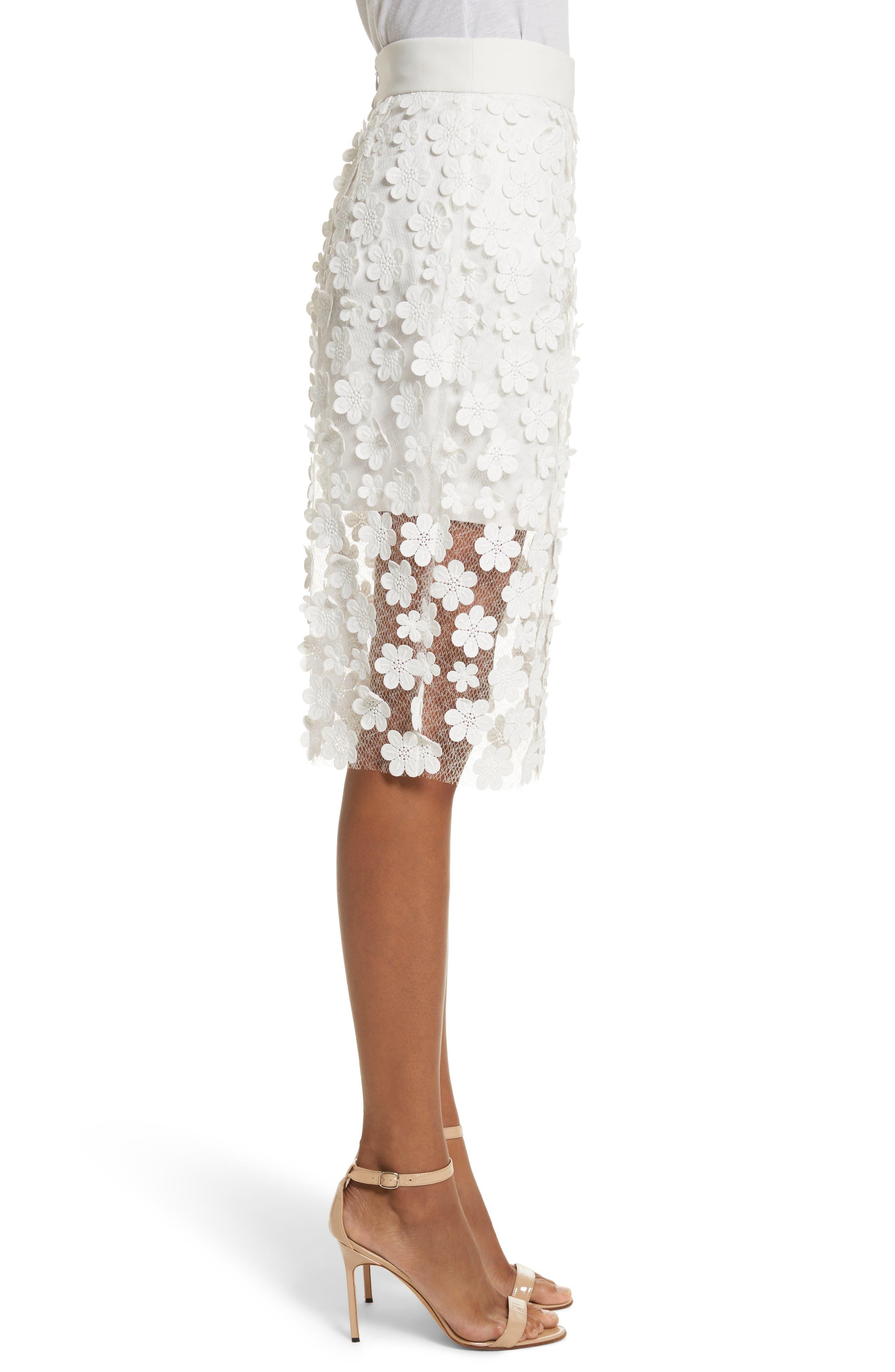 Floral Appliqué Skirt,                             Alternate thumbnail 3, color,                             White