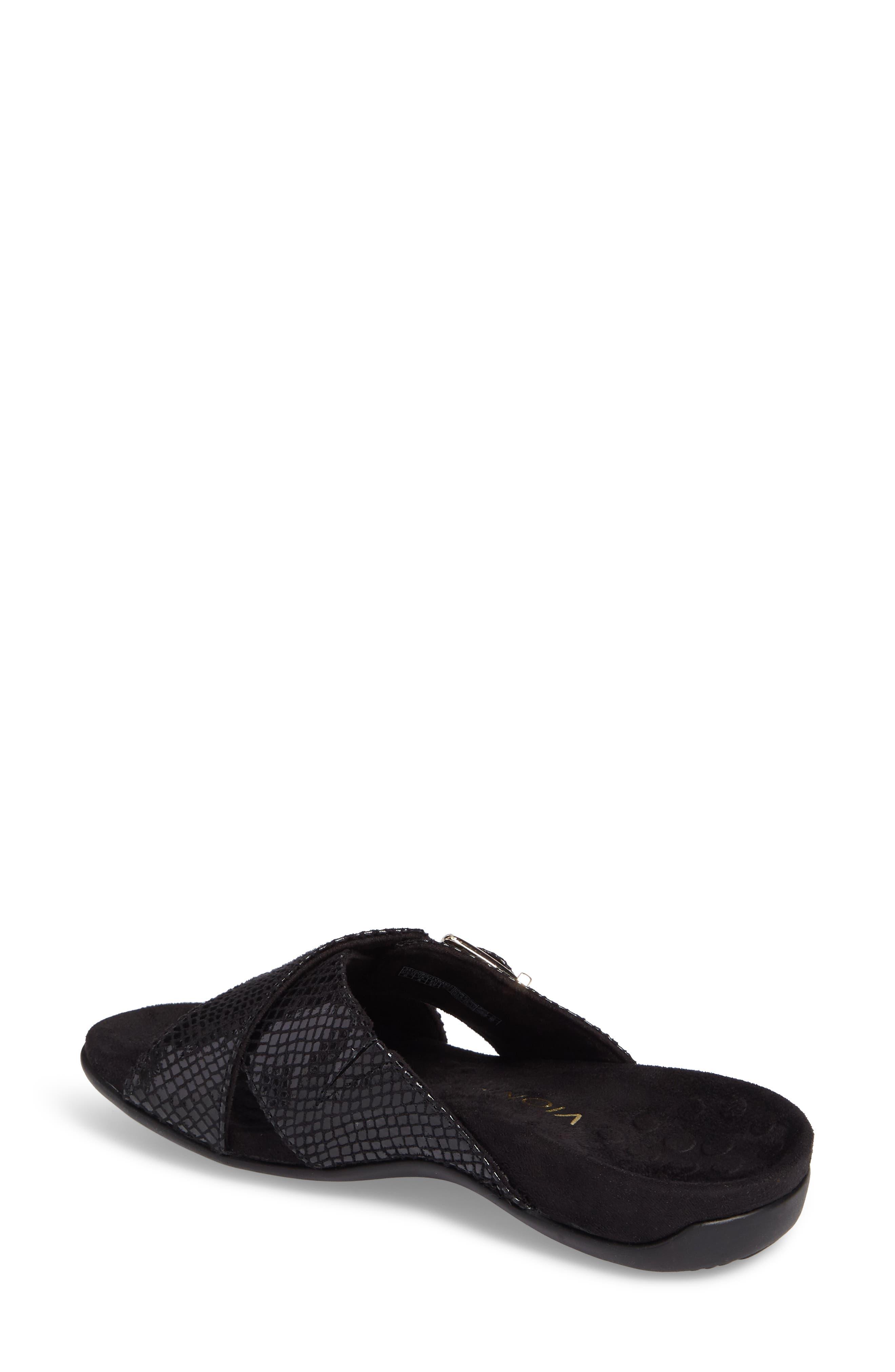 Dorie Cross Strap Slide Sandal,                             Alternate thumbnail 2, color,                             Black Snake Faux Leather