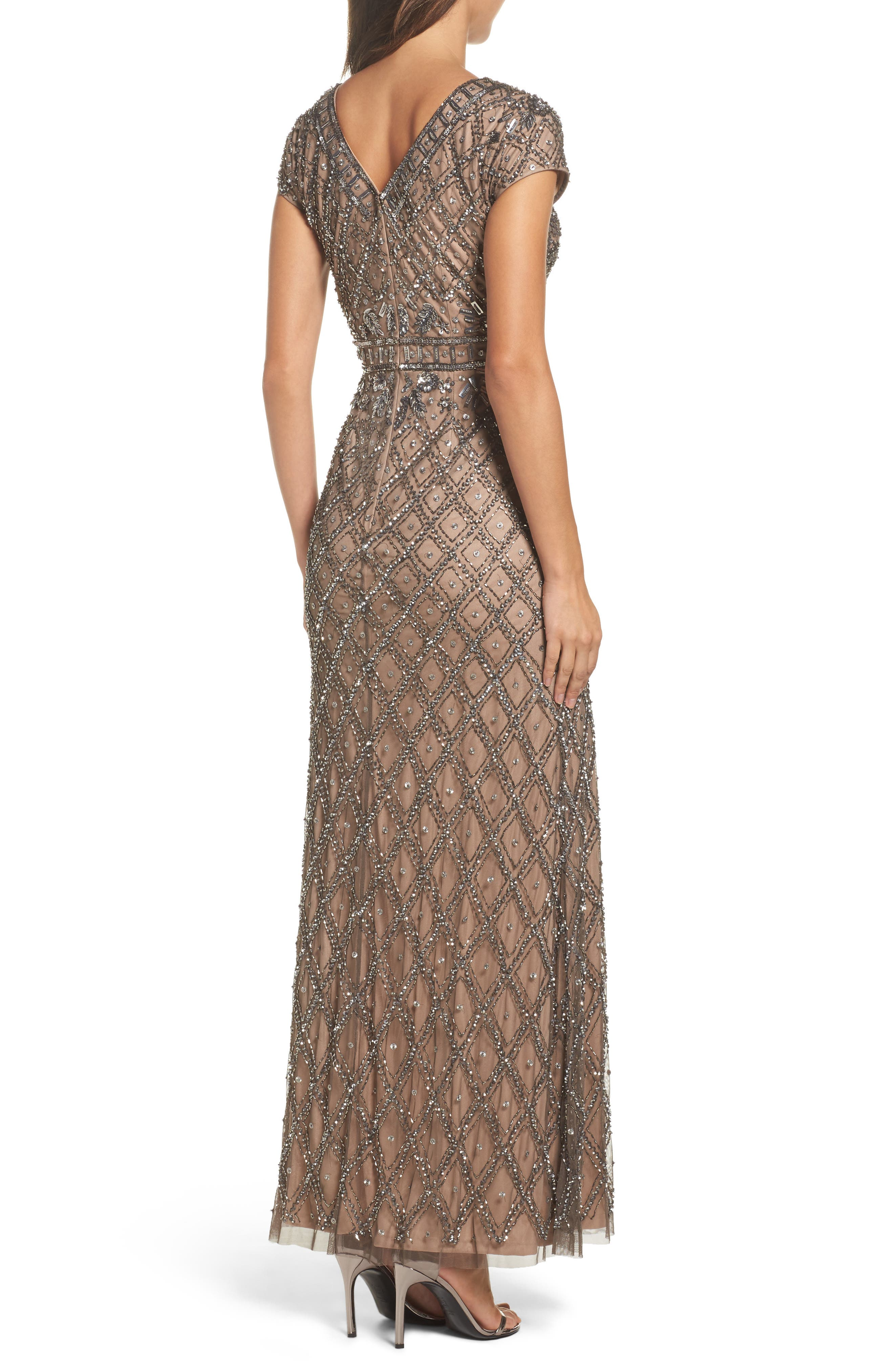 Beaded V-Neck Mesh Gown,                             Alternate thumbnail 2, color,                             Lead/ Nude