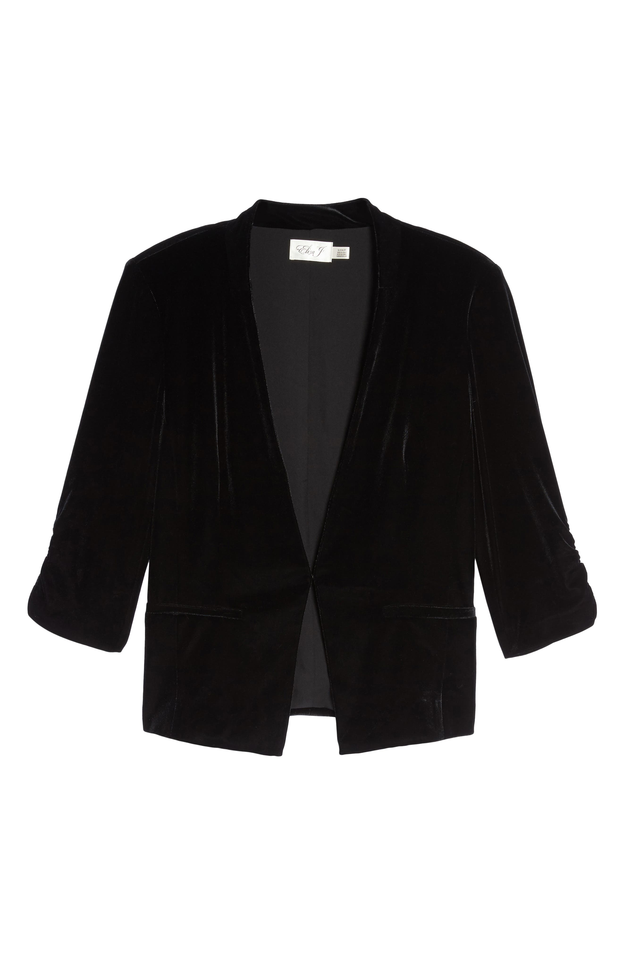 Velvet Blazer,                             Alternate thumbnail 6, color,                             Black