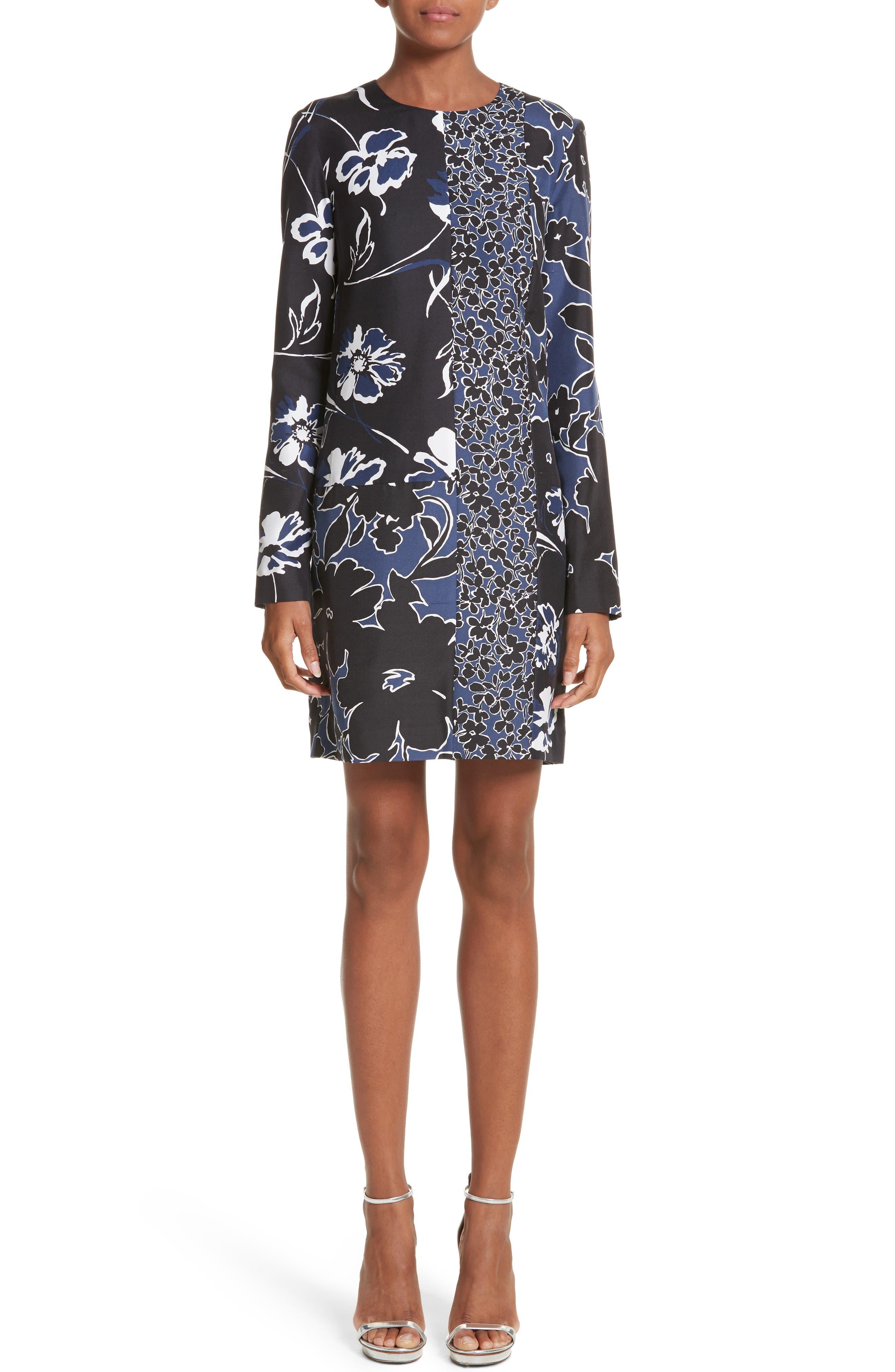 Floral Dupioni Silk Shift Dress,                         Main,                         color, Sapphire
