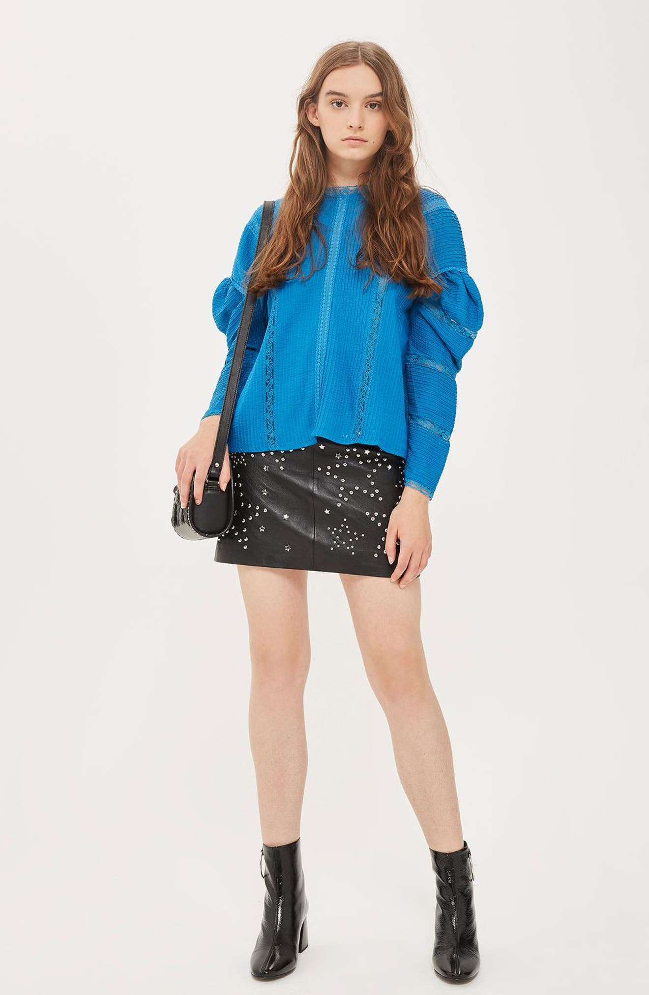 Statement Sleeve Pintuck Blouse,                             Alternate thumbnail 3, color,                             Blue