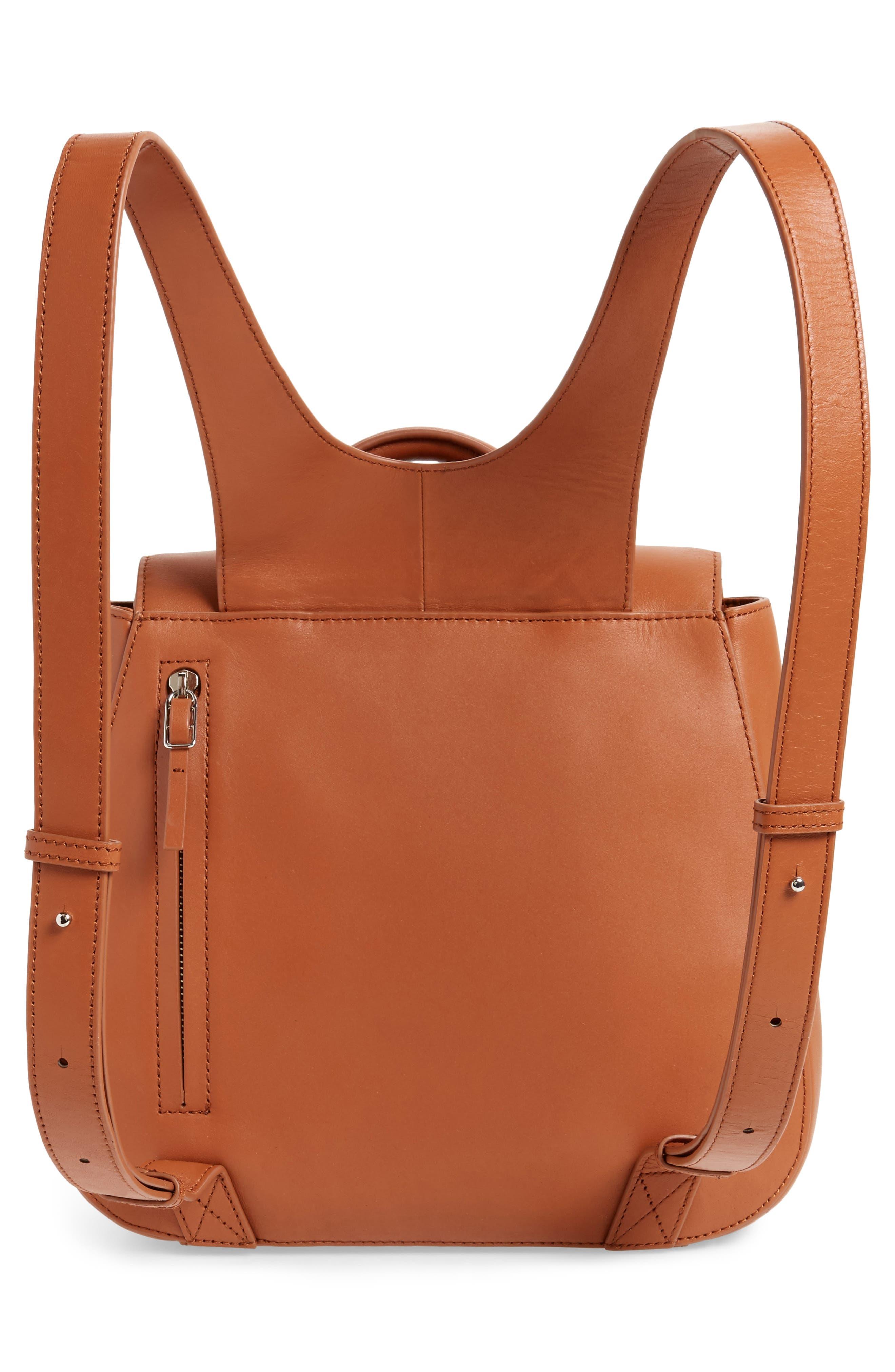 Kate Calfskin Leather Backpack,                             Alternate thumbnail 3, color,                             Saddle