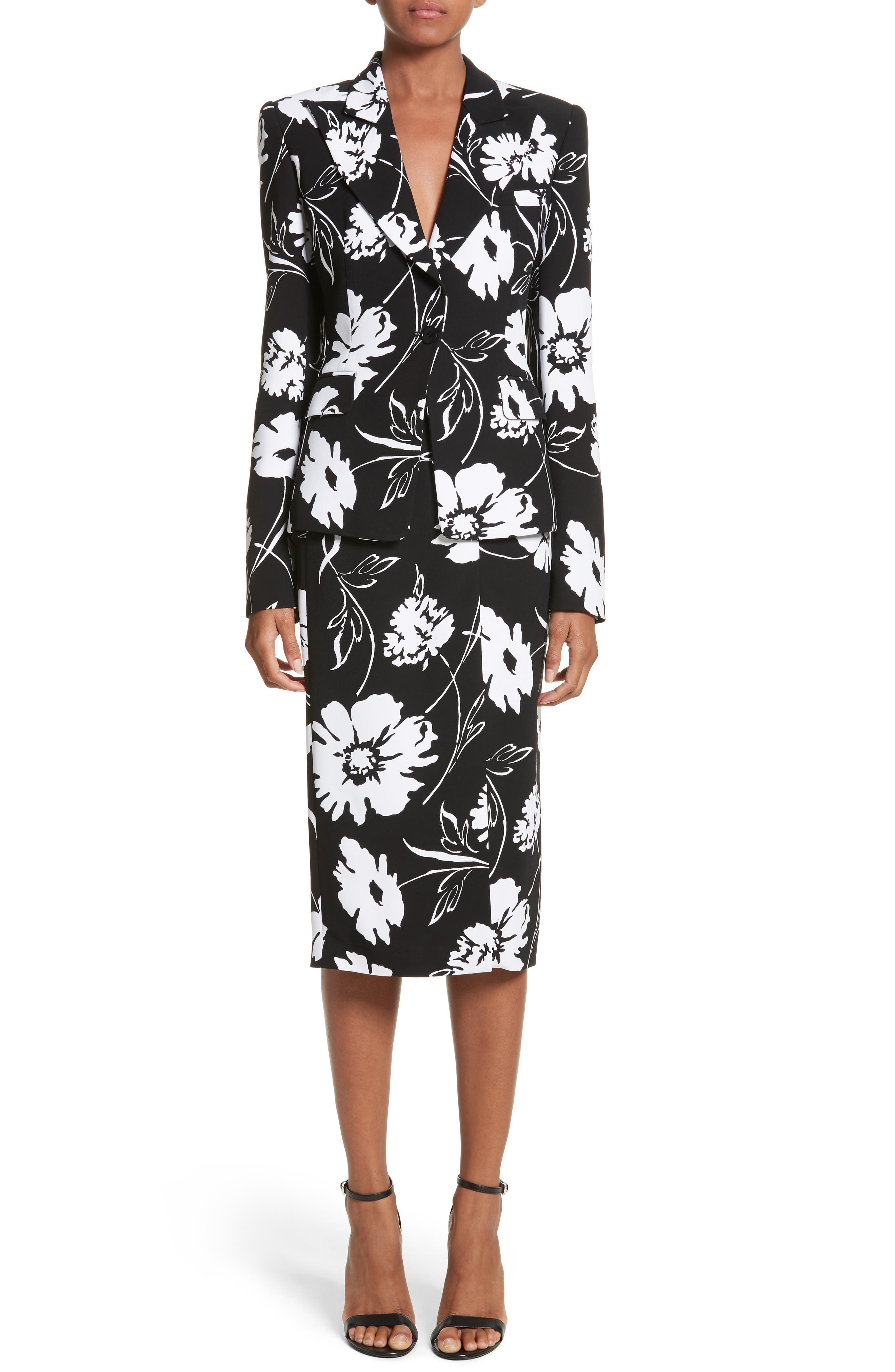 Floral Print Blazer,                             Alternate thumbnail 7, color,                             Black / White