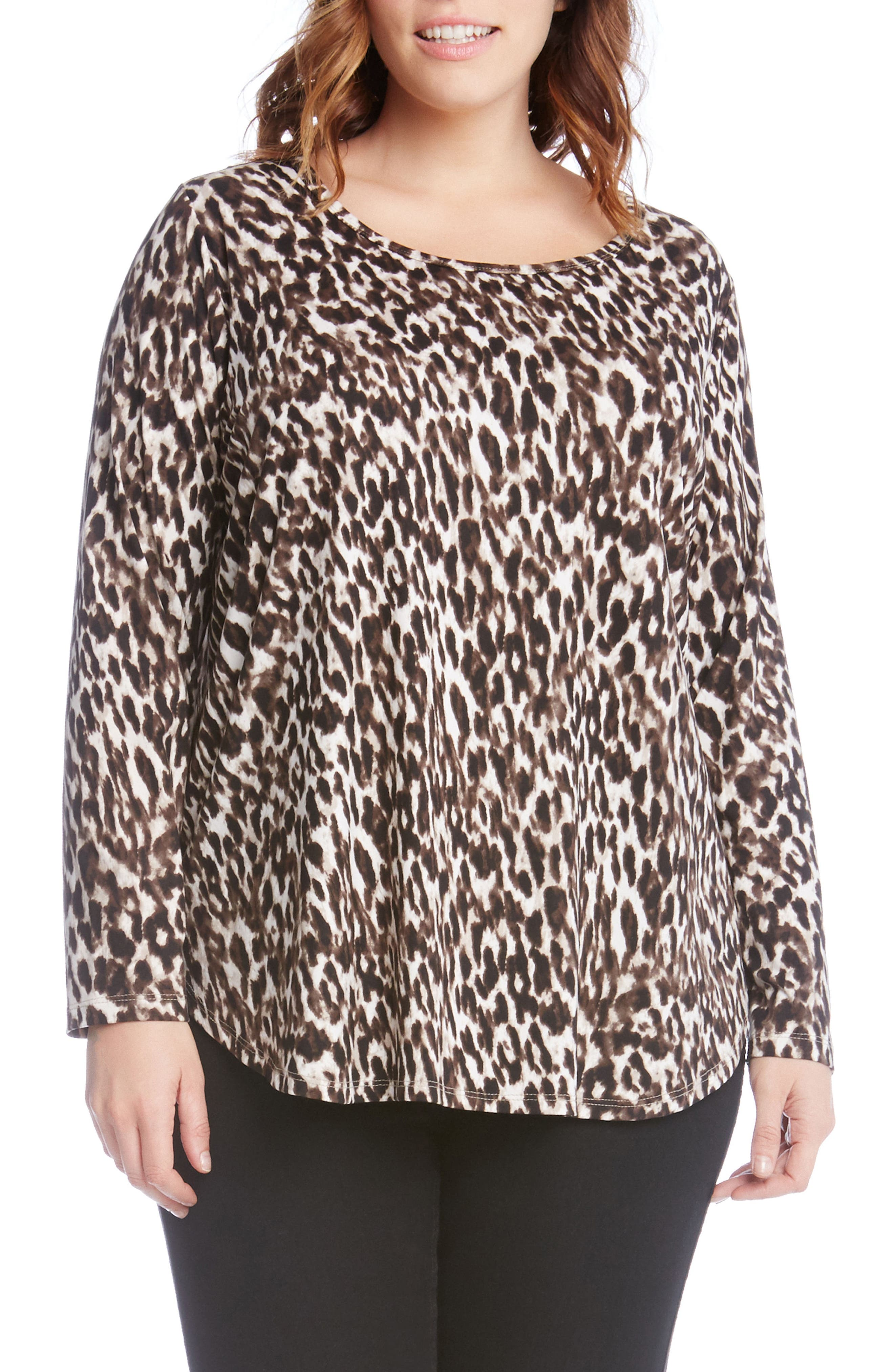 Alternate Image 1 Selected - Karen Kane Print Knit Shirttail Top (Plus Size)