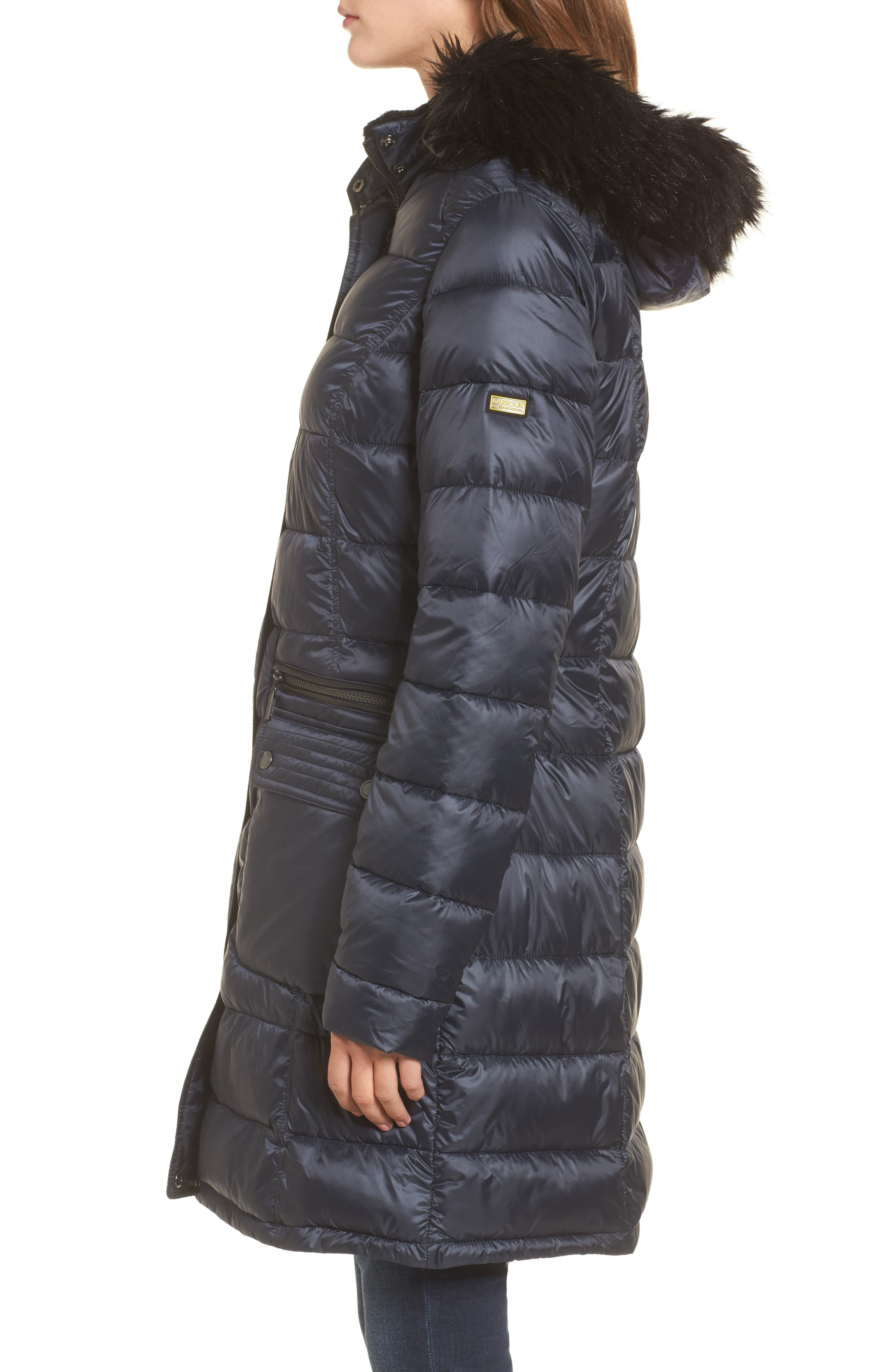 Dunnet Water Resistant Hooded Quilted Coat with Faux Fur Trim,                             Alternate thumbnail 3, color,                             Navy
