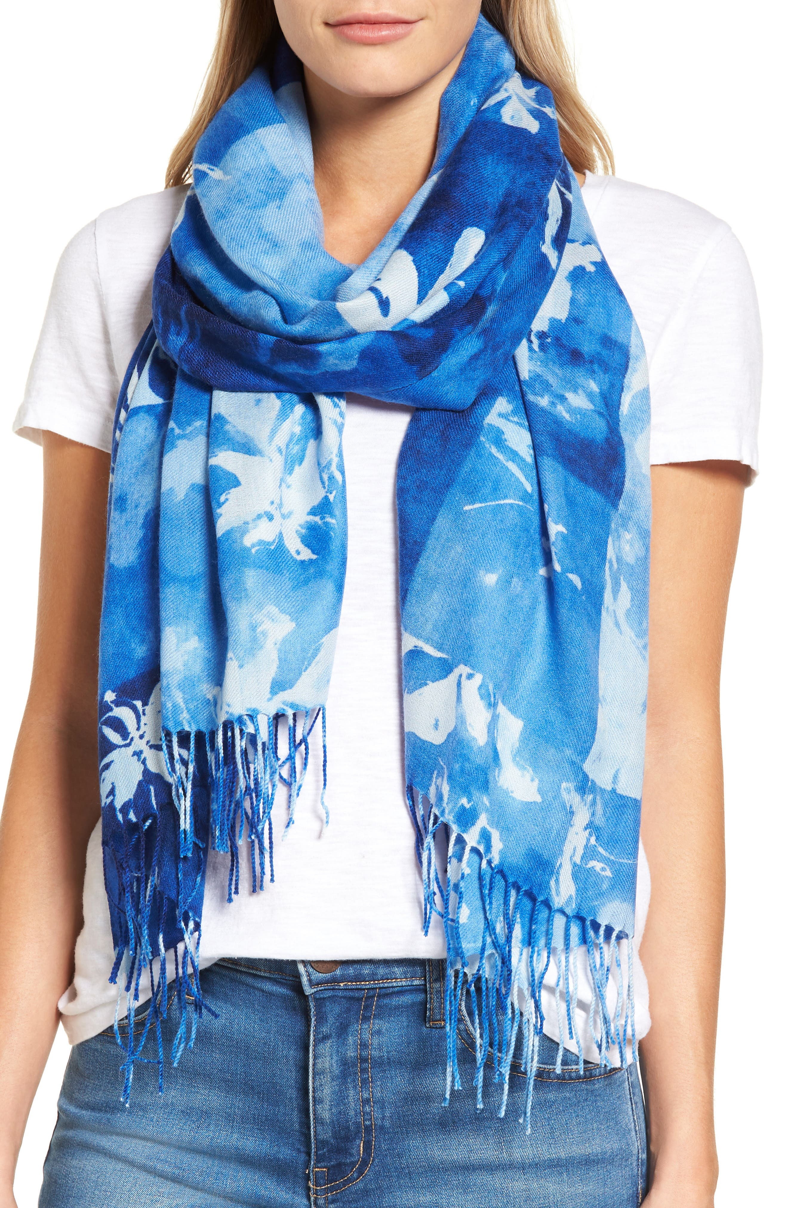 Solar Patchwork Tissue Wool & Cashmere Scarf,                             Main thumbnail 1, color,                             Blue Combo
