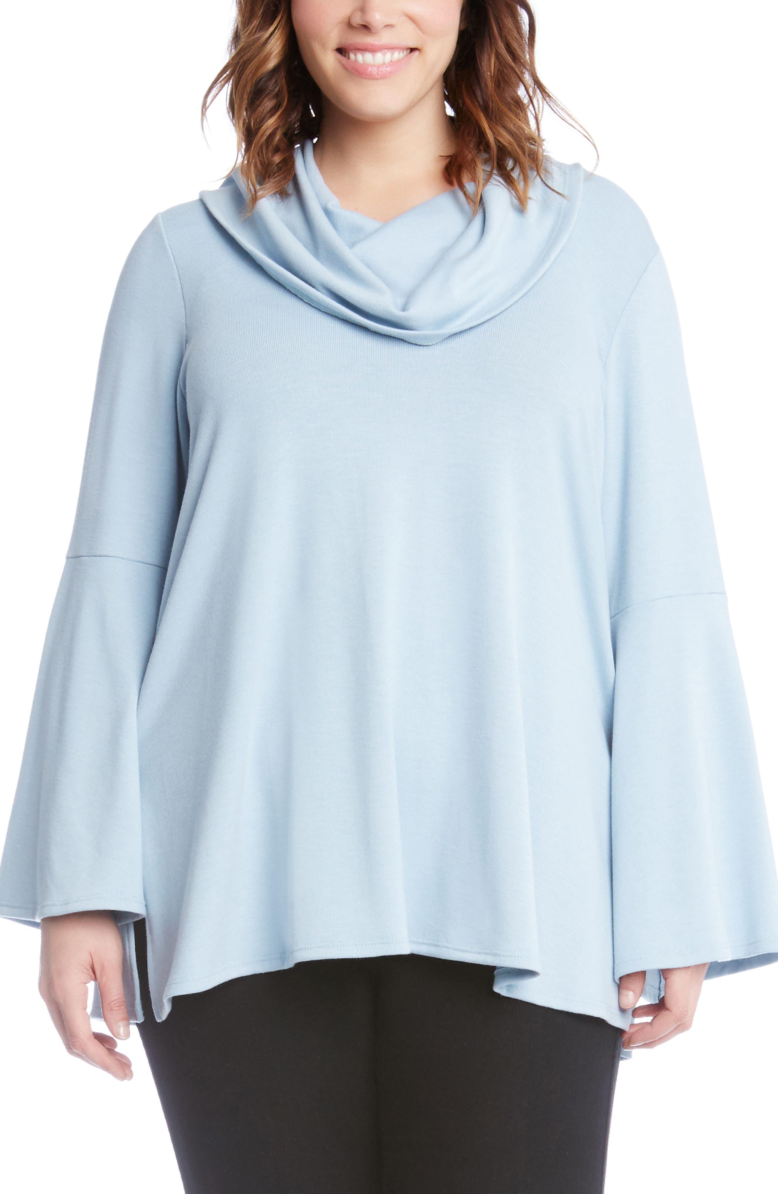 Alternate Image 1 Selected - Karen Kane Flare Sleeve Cowl Neck Sweater (Plus Size)