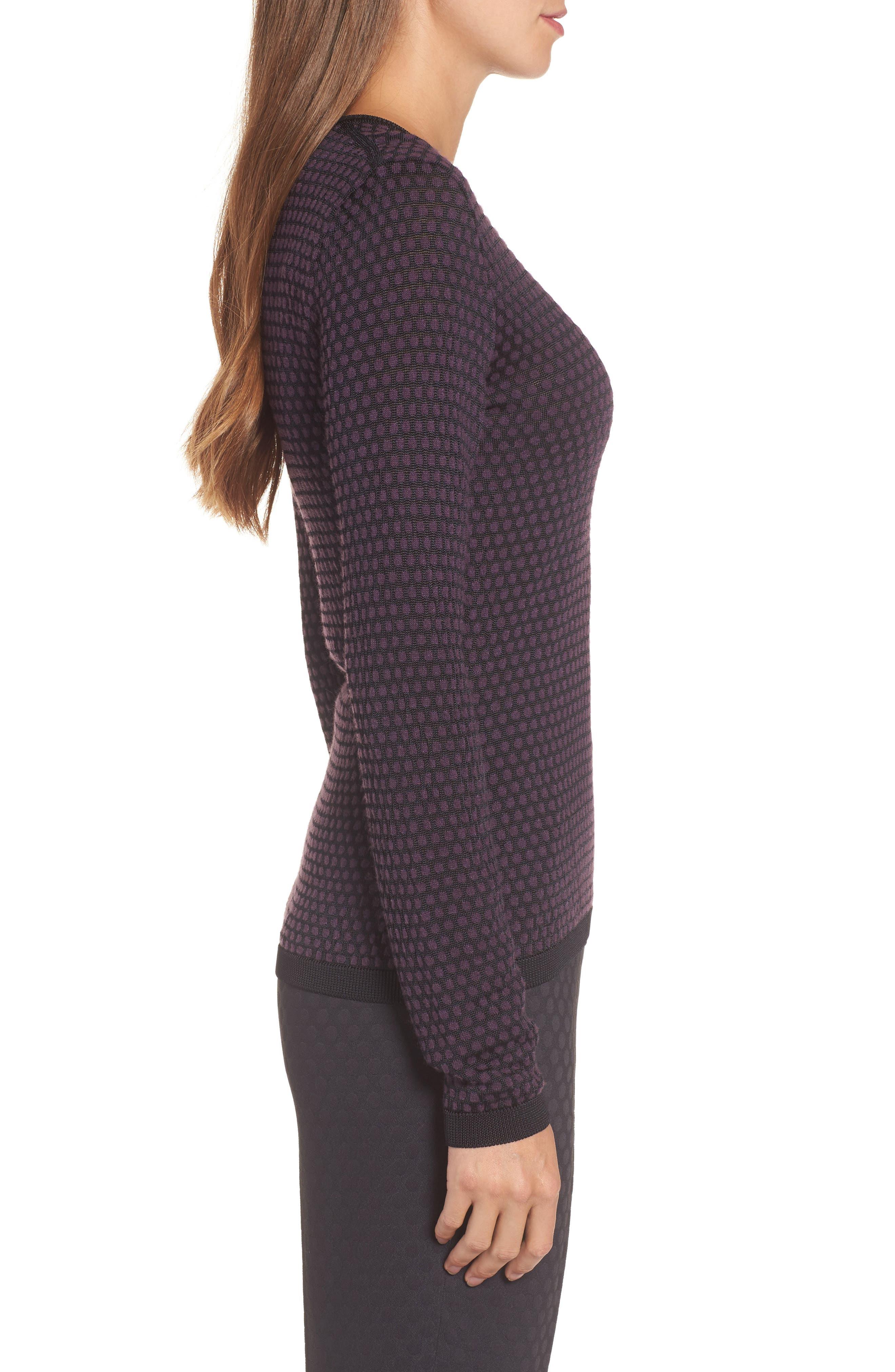 Dot Fielitza Jacquard Sweater,                             Alternate thumbnail 3, color,                             Dark Dahlia