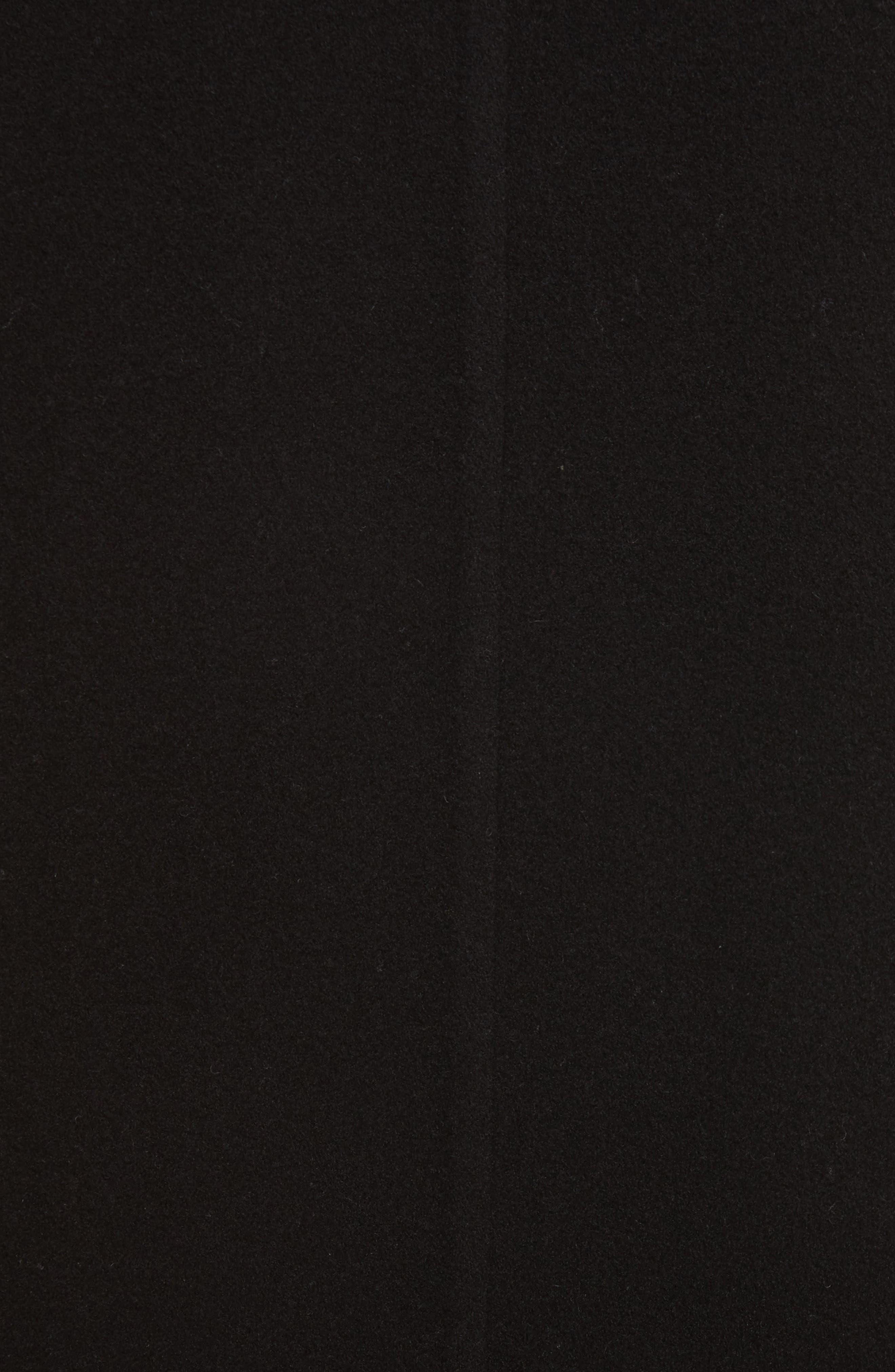 Genuine Shearling Trim Long Coat,                             Alternate thumbnail 5, color,                             Black