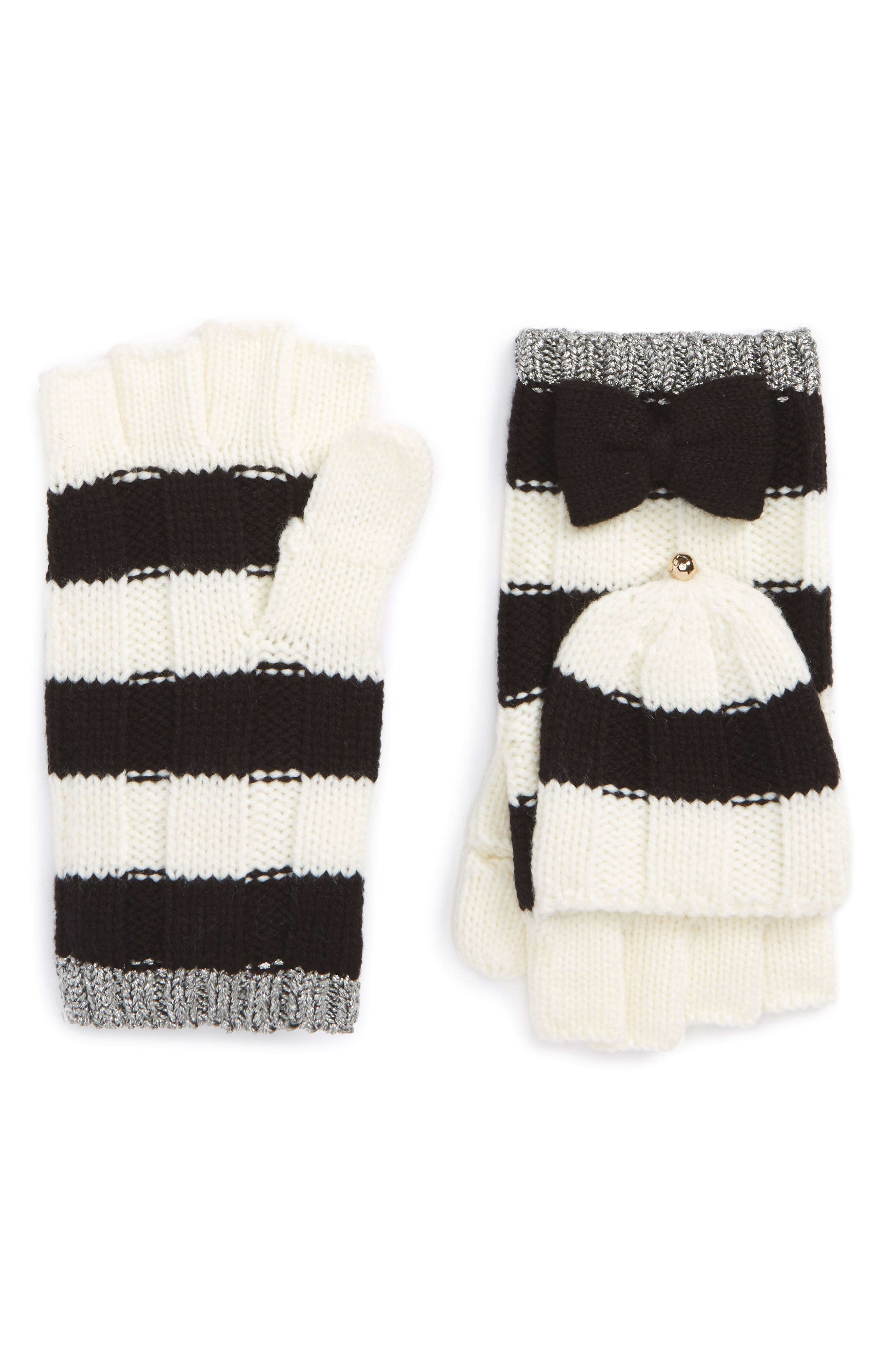 stripe convertible knit mittens,                             Main thumbnail 1, color,                             Cream/Black/Antique Silver