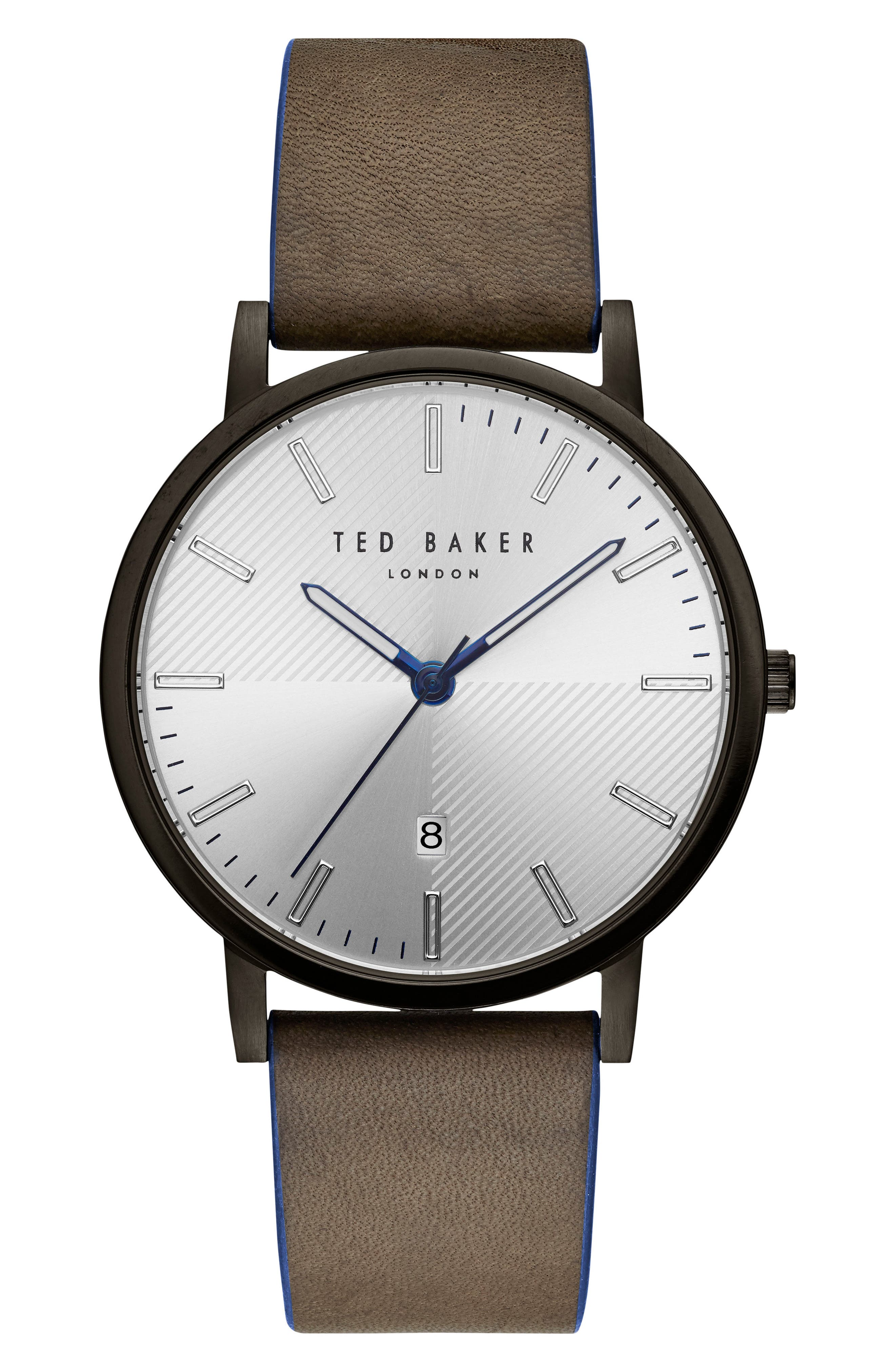 Ted Baker London Dean Leather Strap Watch, 40mm