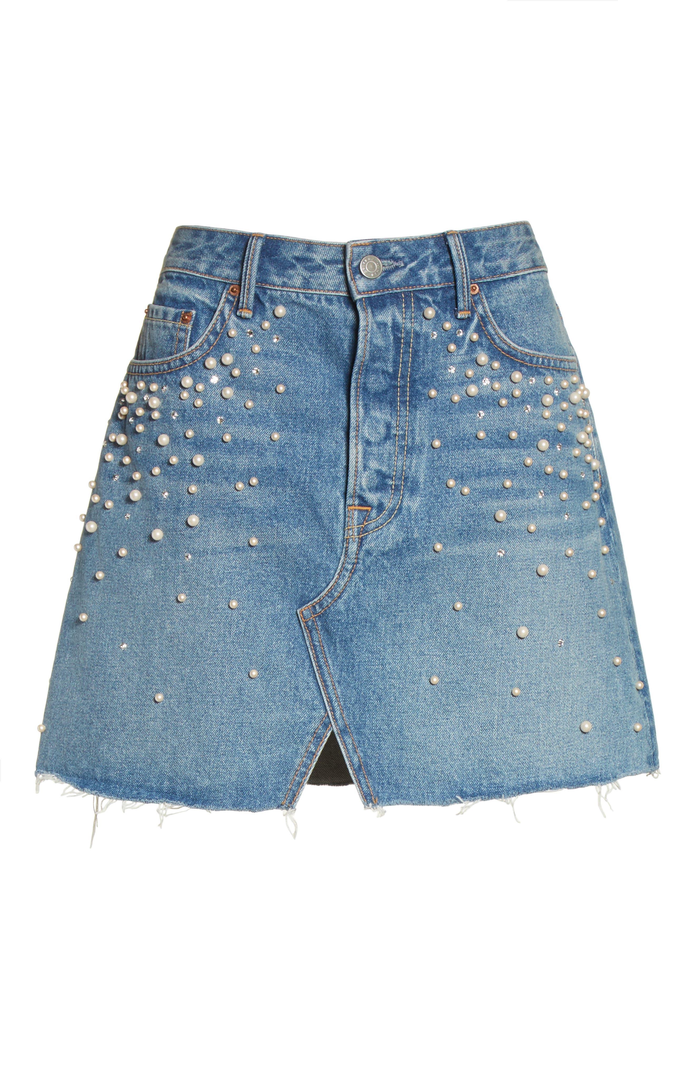 Milla Faux Pearl & Crystal Embellished A-Line Denim Skirt,                             Alternate thumbnail 6, color,                             Solstice