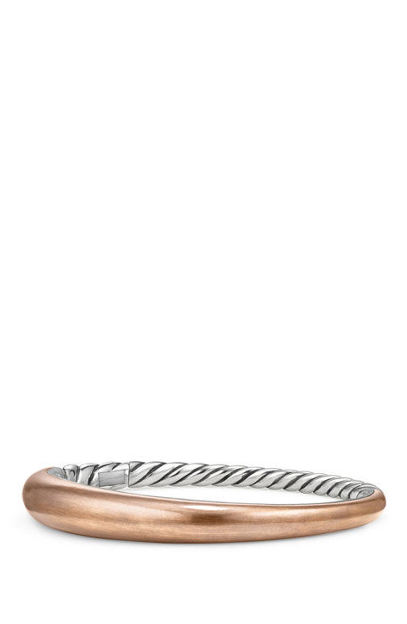 Pure Form Mixed Metal Smooth Bracelet with Diamonds, Bronze and Silver, 9.5mm,                         Main,                         color, Silver