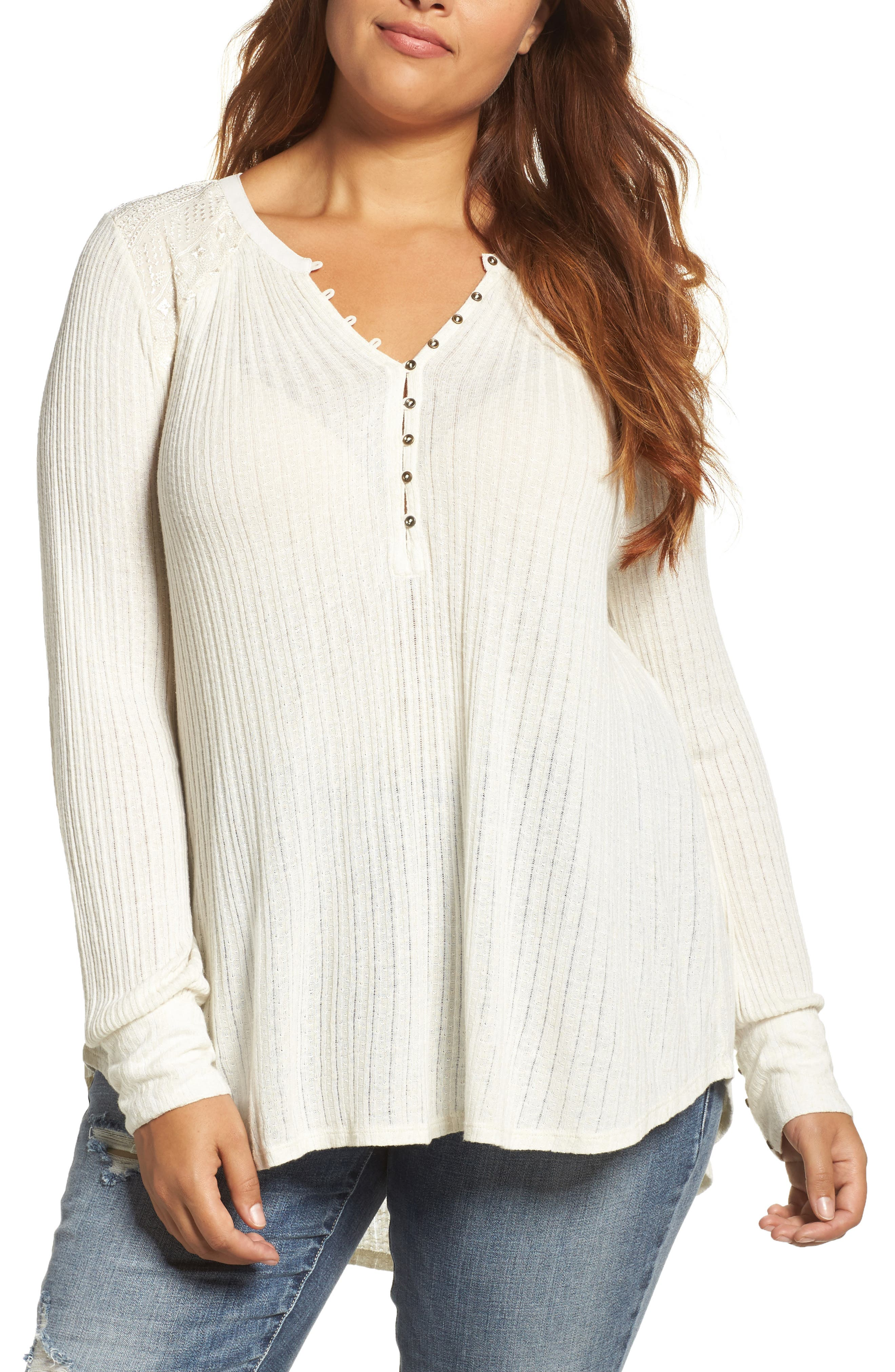Alternate Image 1 Selected - Lucky Brand Drop Needle Ribbed Pullover (Plus Size)