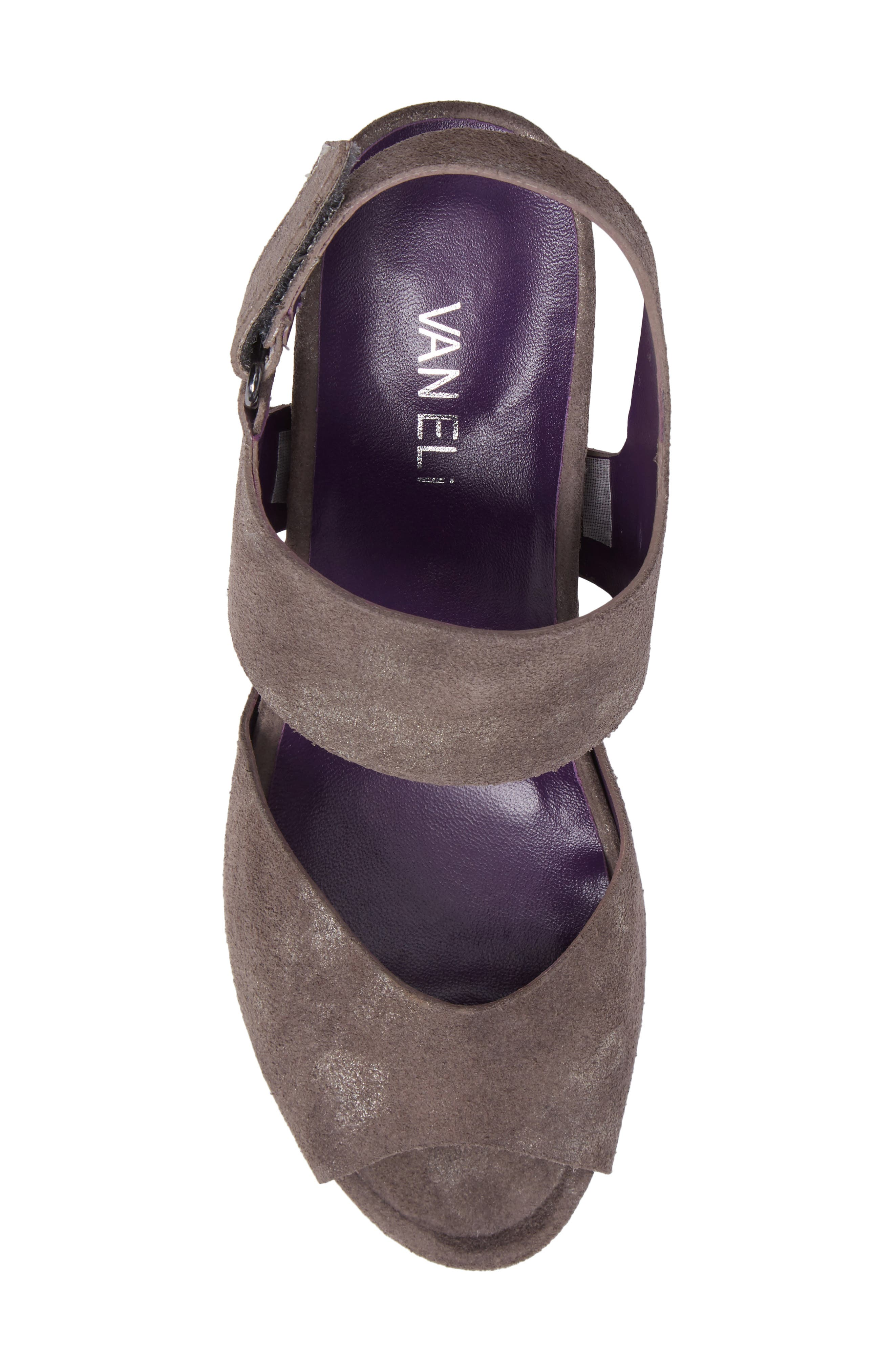 Ilex Wedge Sandal,                             Alternate thumbnail 5, color,                             Taupe Suede