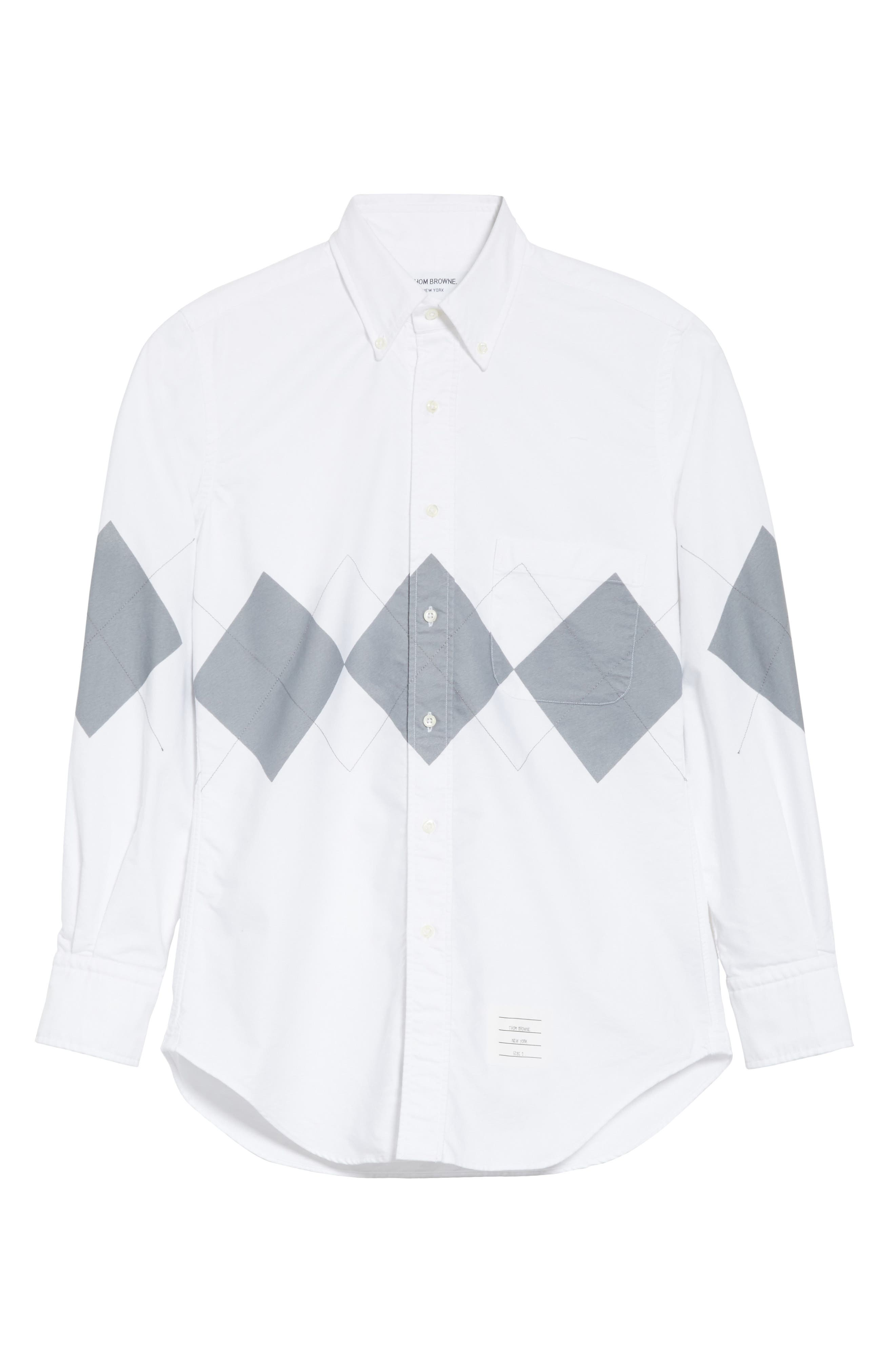 Argyle Print Woven Shirt,                             Alternate thumbnail 6, color,                             White