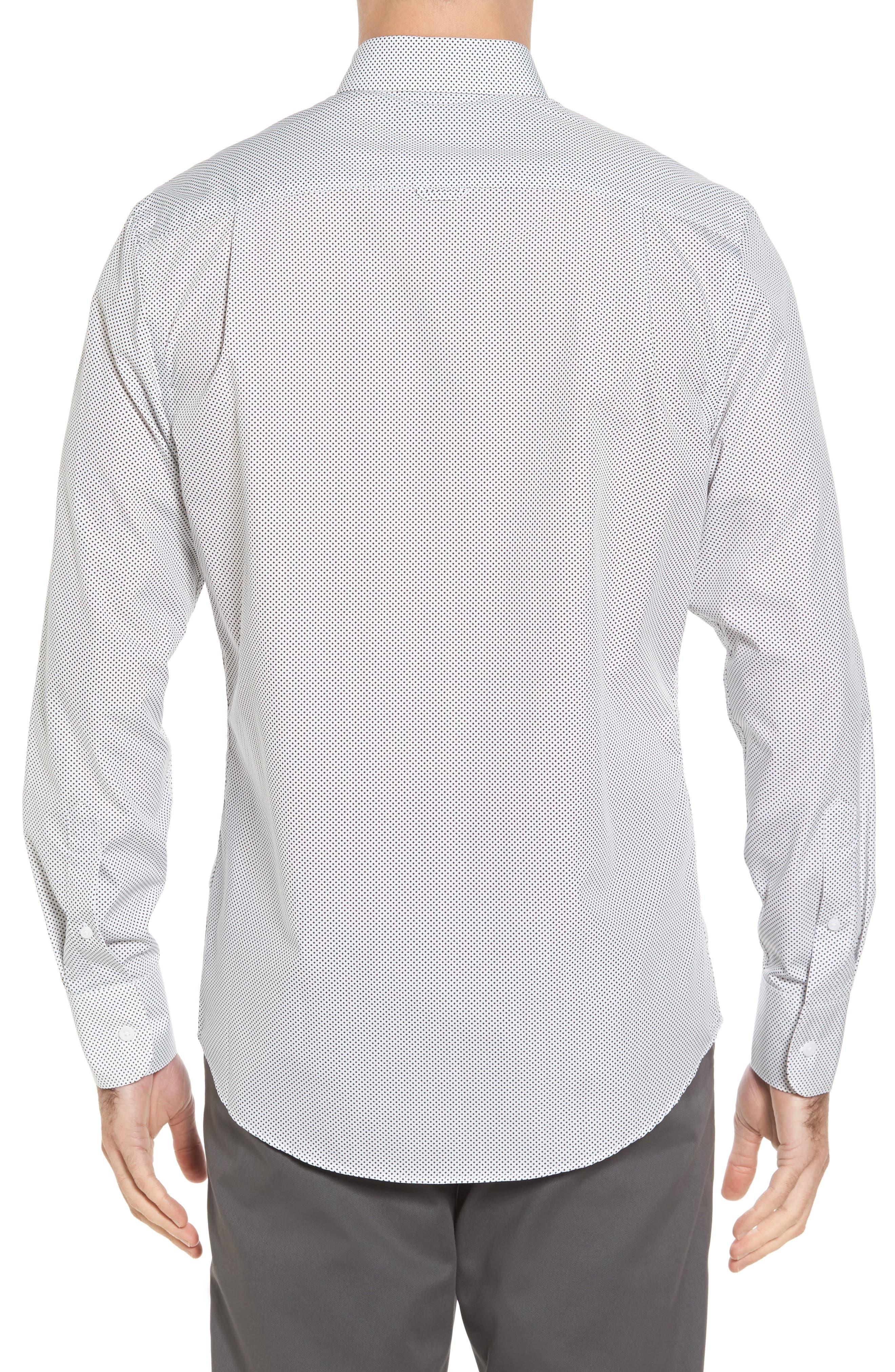 Regular Fit Non-Iron Print Sport Shirt,                             Alternate thumbnail 2, color,                             Black White Mini Cross