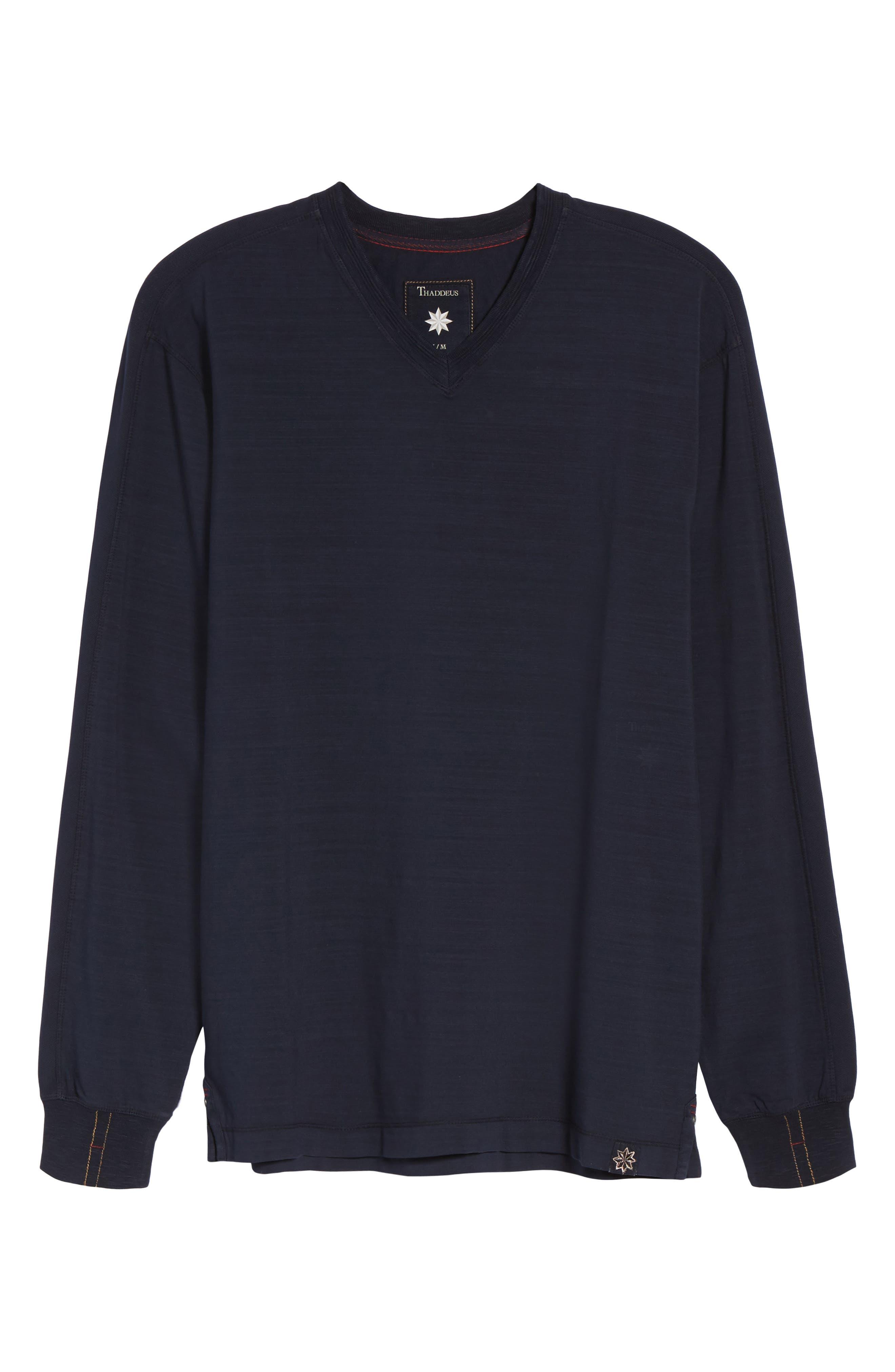 Vinn Slubbed Long Sleeve V-Neck T-Shirt,                             Alternate thumbnail 6, color,                             Ink