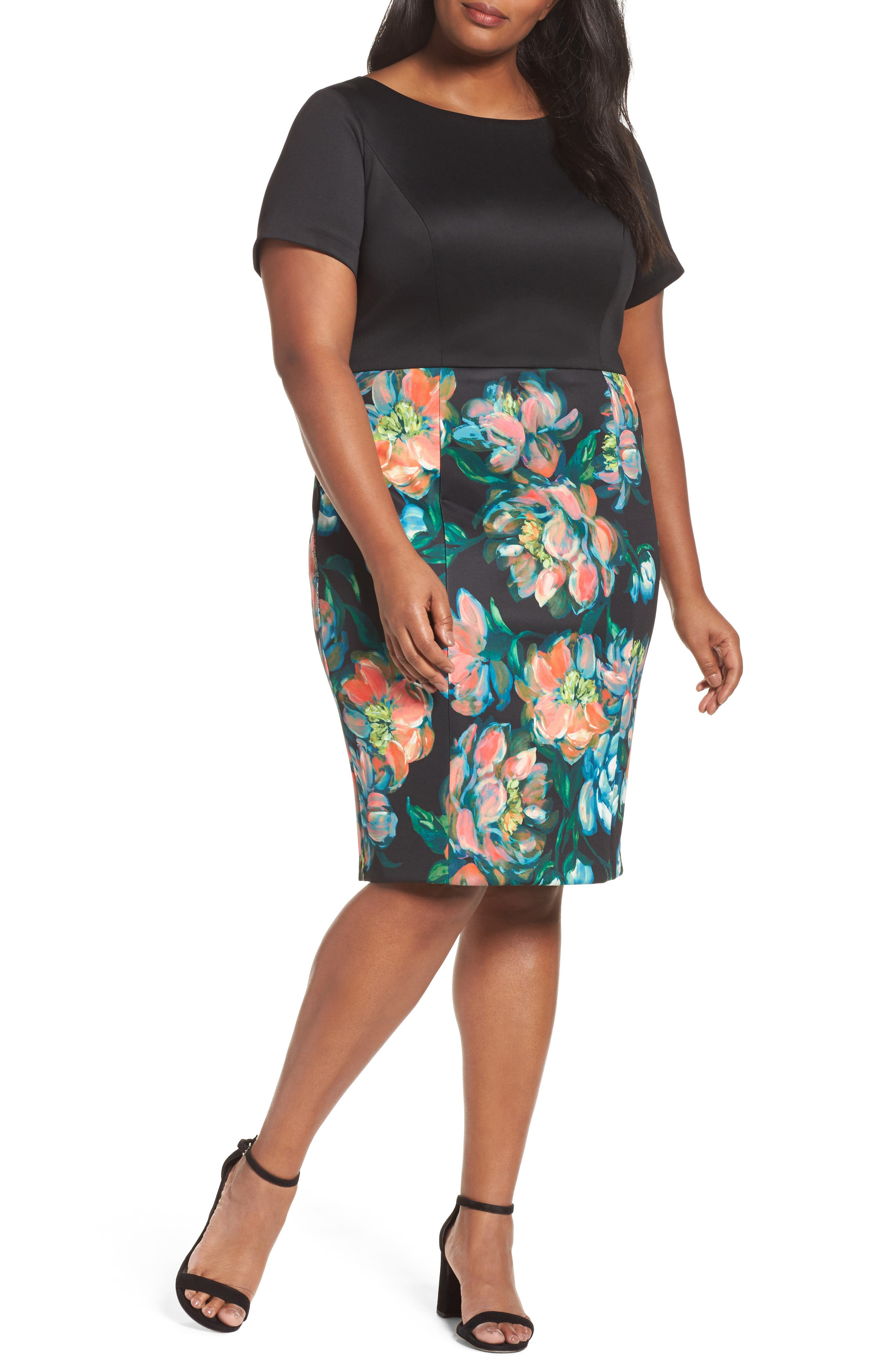 Floral Print Sheath Dress,                         Main,                         color, Black Multi