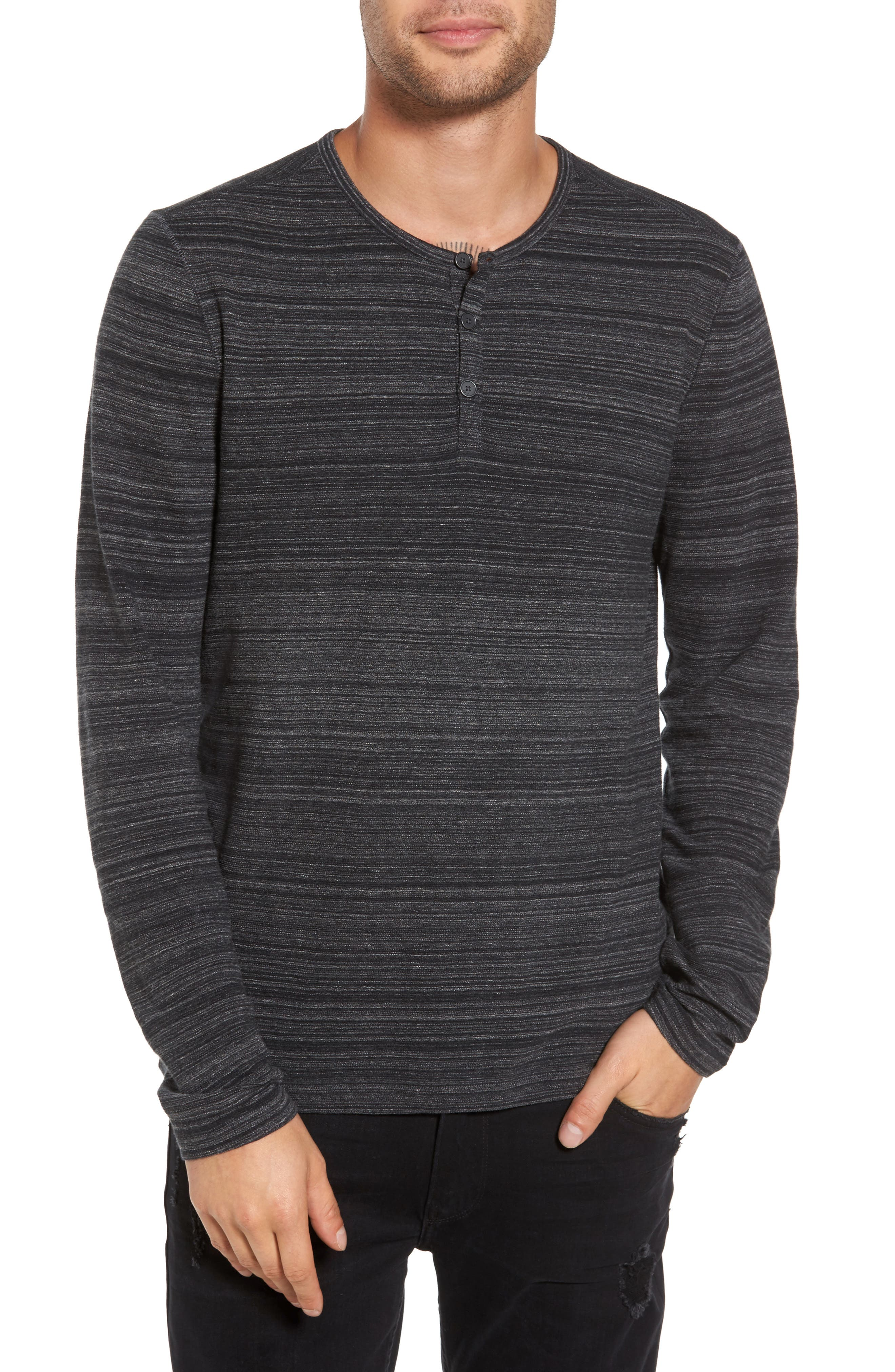 Vertical Pickstitch Henley,                         Main,                         color, Black