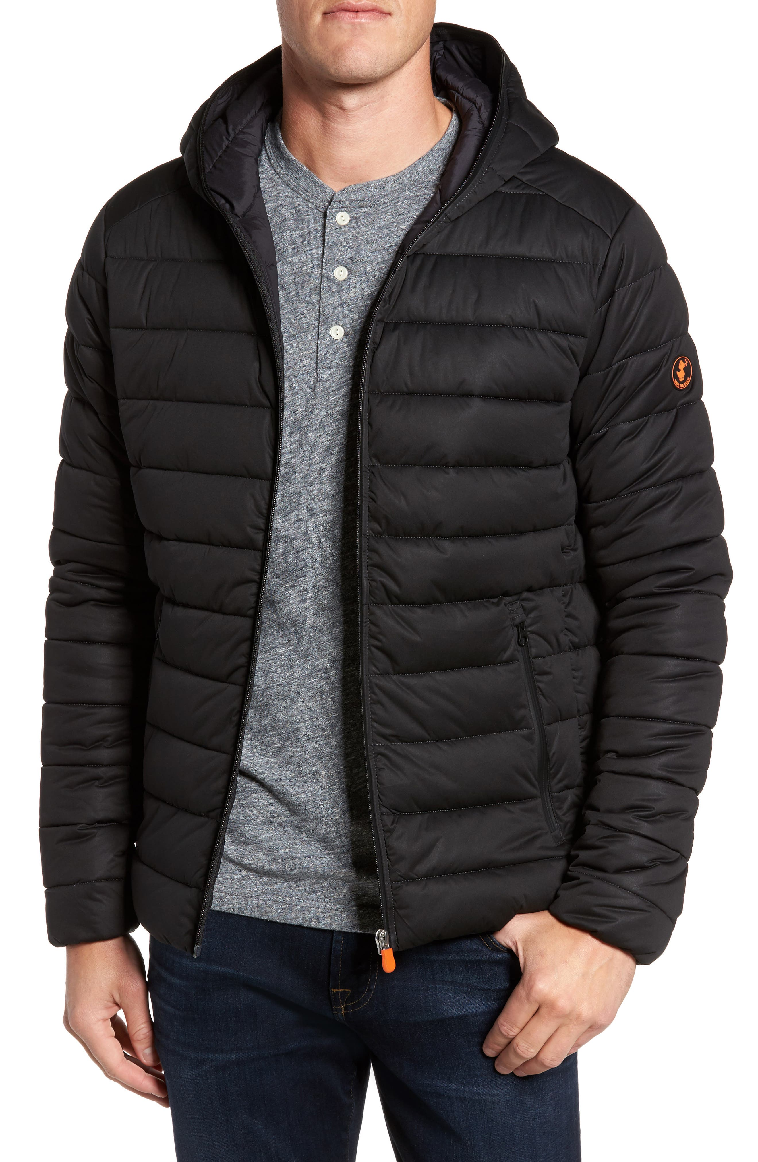 Hooded Water Resistant Puffer Jacket,                         Main,                         color, Black