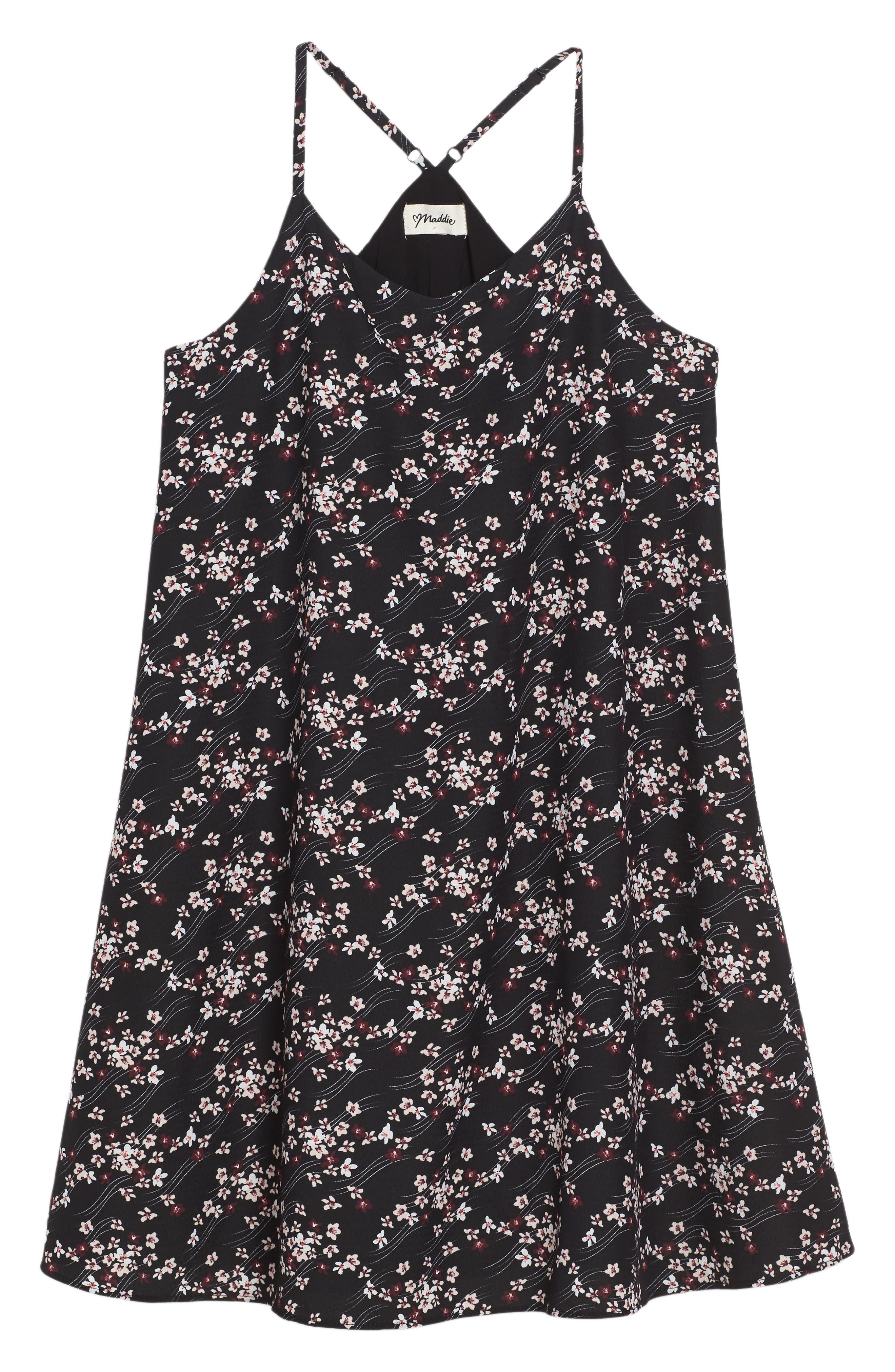 Floral Print Slip Dress,                         Main,                         color, Black Multi
