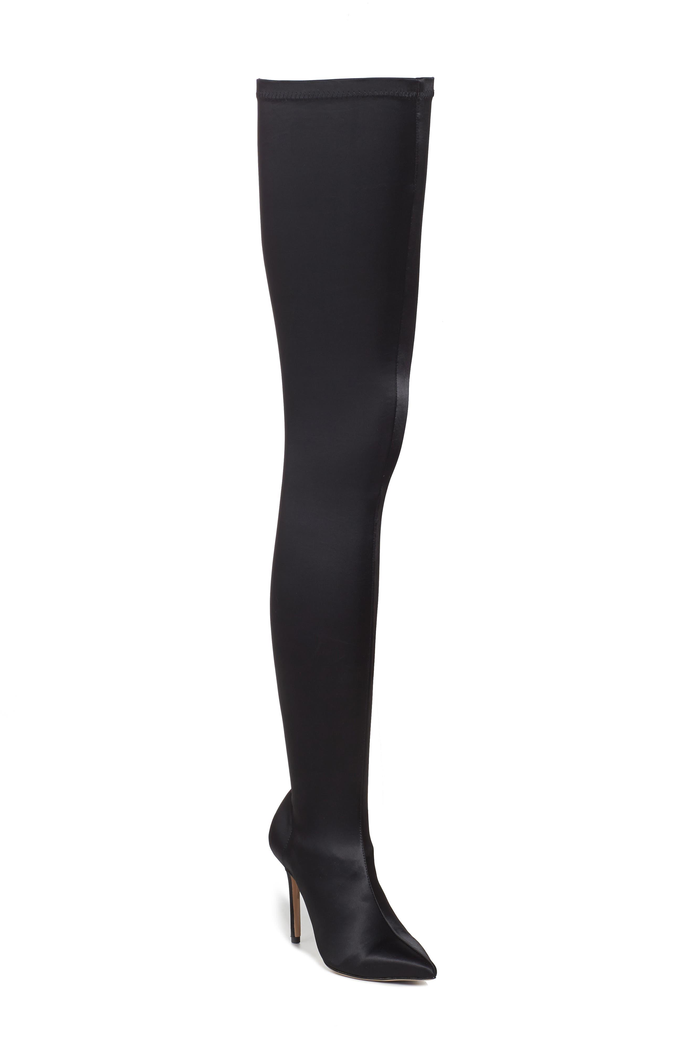 Dene Thigh High Boot,                         Main,                         color, Black Satin