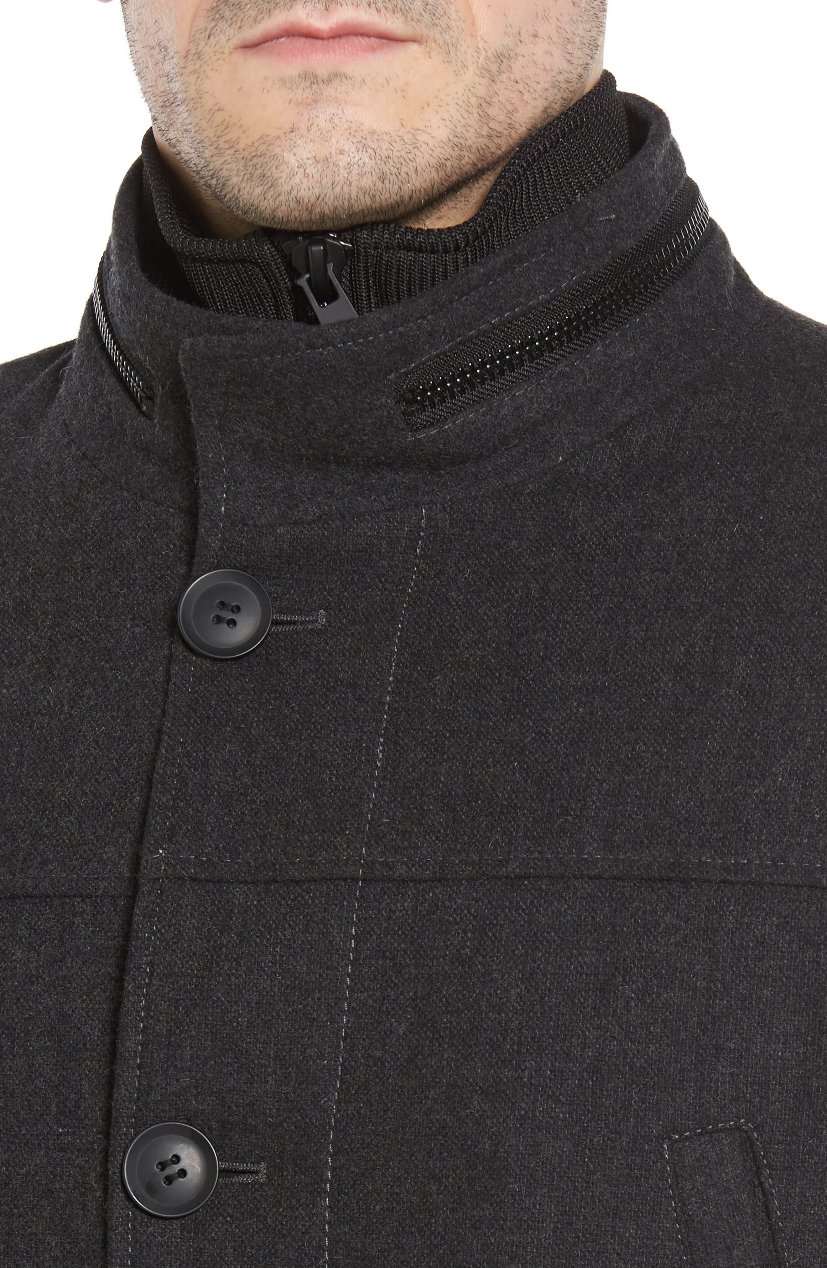 Button Front Coat,                             Alternate thumbnail 4, color,                             Charcoal