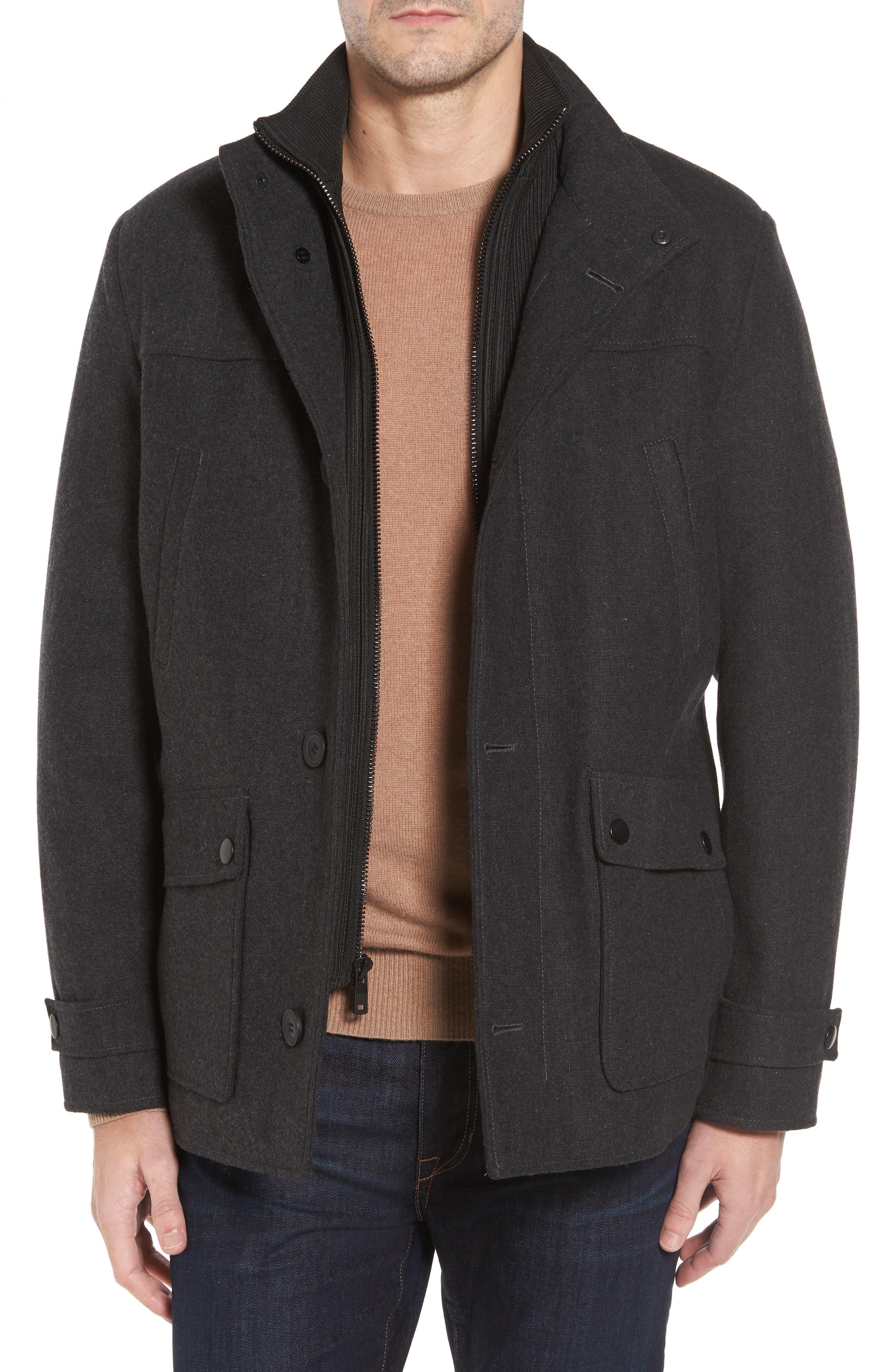 Button Front Coat,                         Main,                         color, Charcoal
