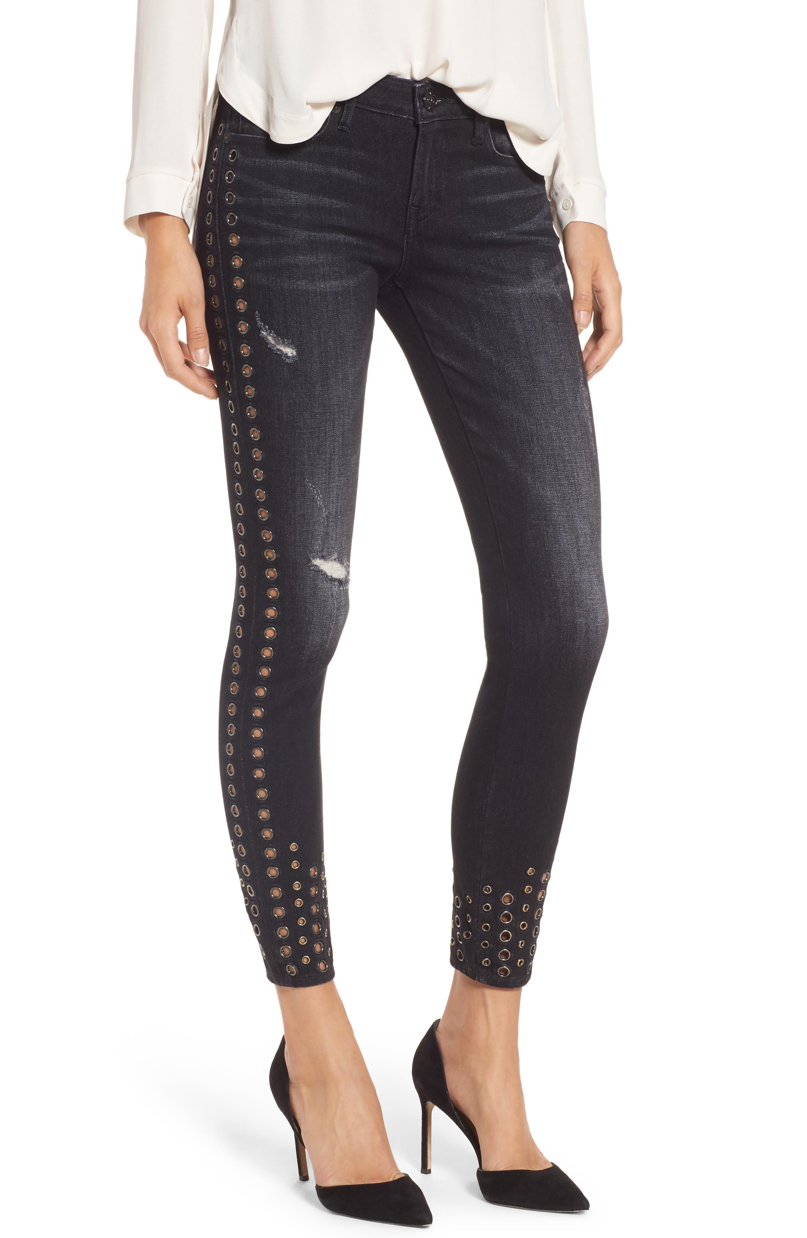 Halle Ankle Super Skinny Jeans,                         Main,                         color, Rock Solid Wash