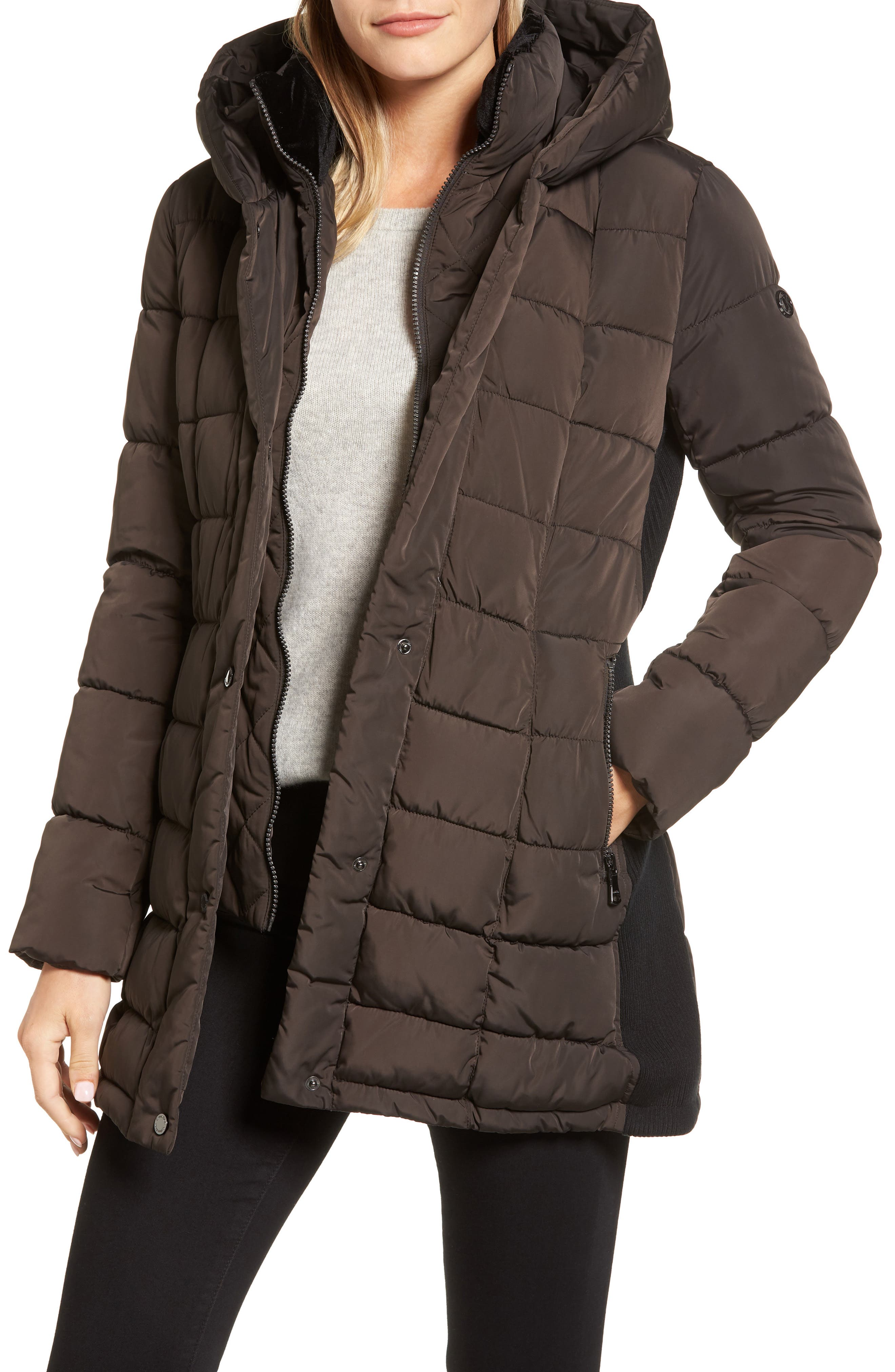 Calvin Klein Quilted Down Coat with Vest Inset