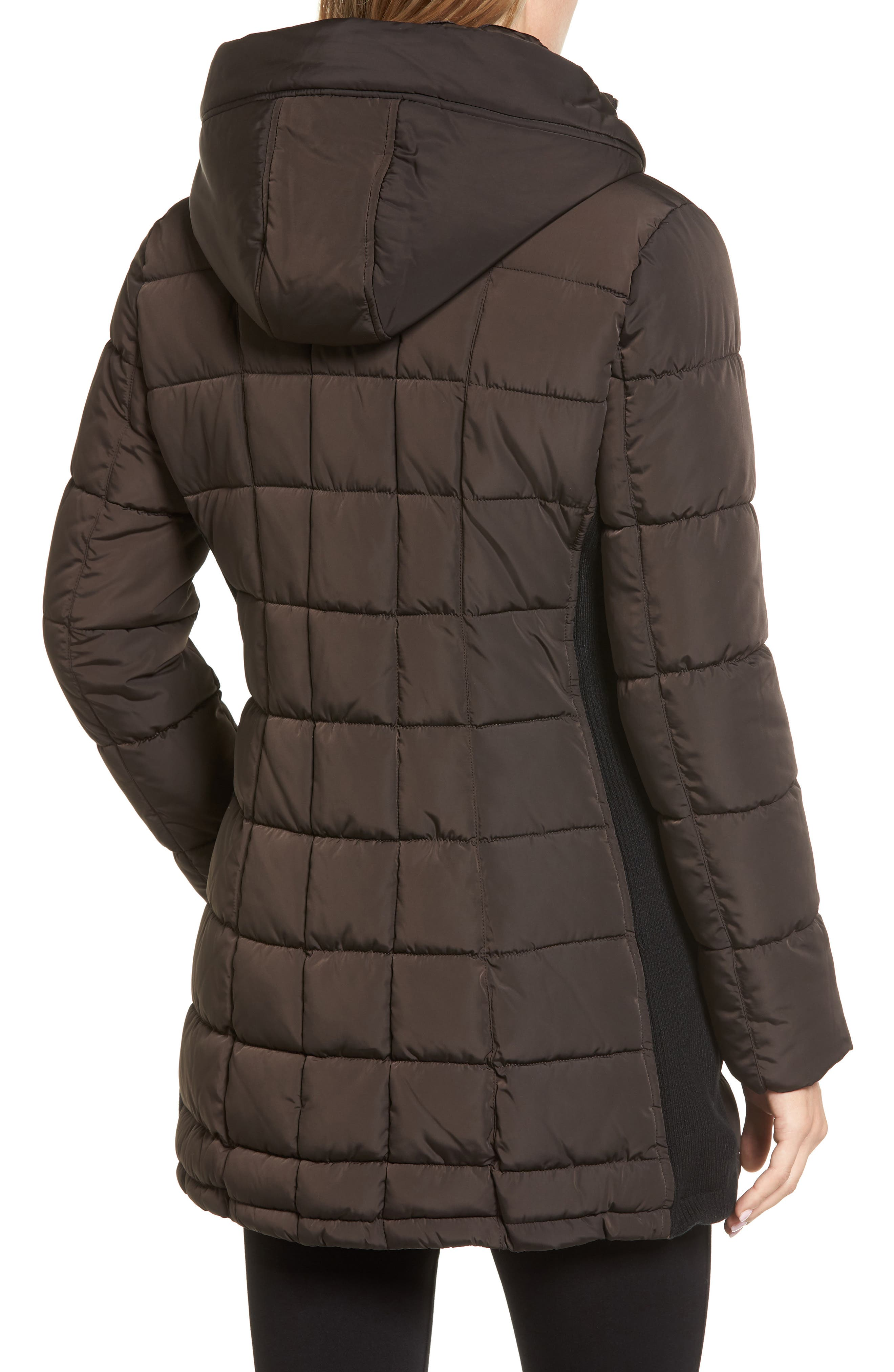 Alternate Image 2  - Calvin Klein Quilted Down Coat with Vest Inset