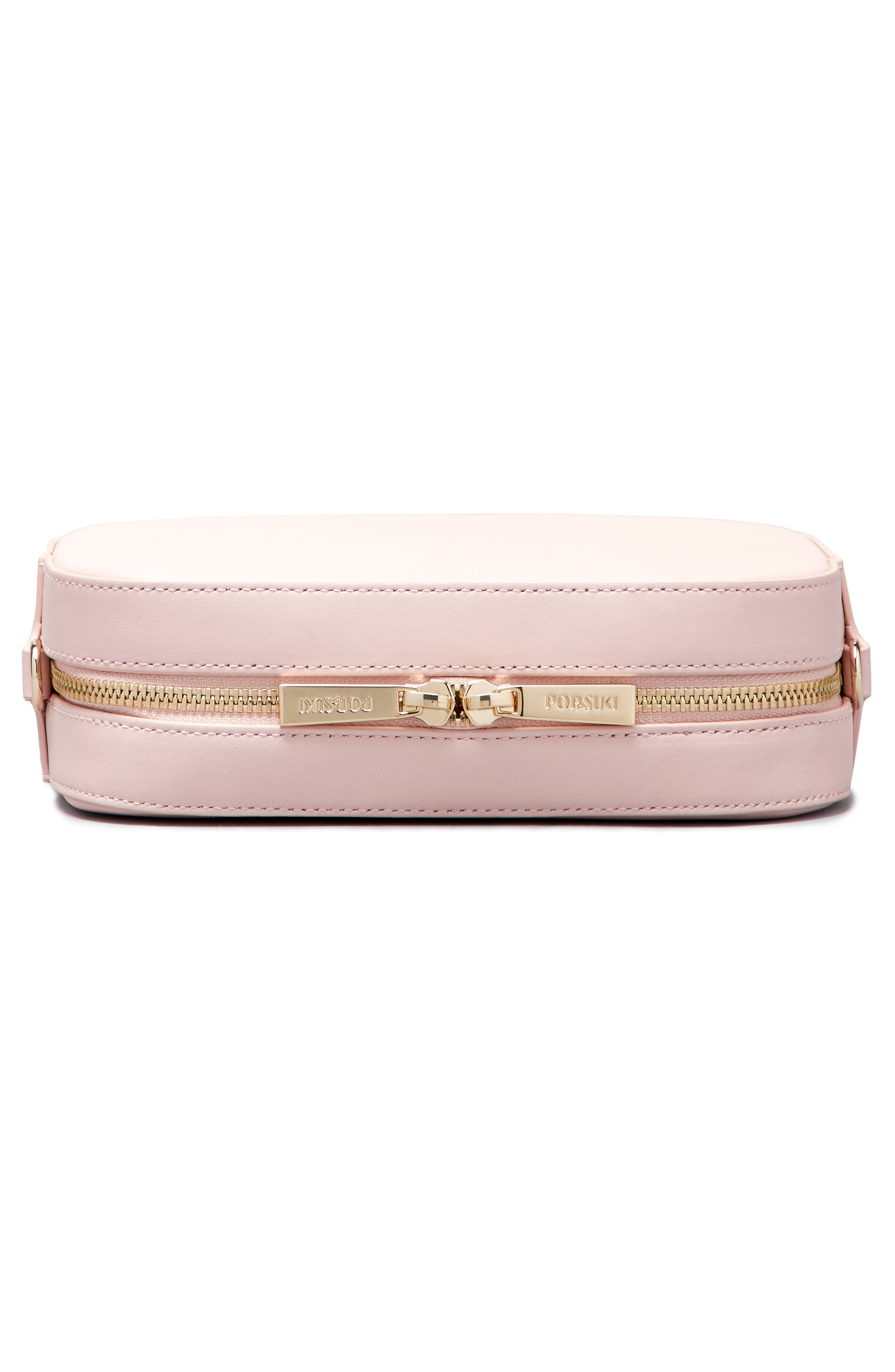 Personalized Leather Camera Bag,                             Alternate thumbnail 5, color,                             Cotton Candy/ White