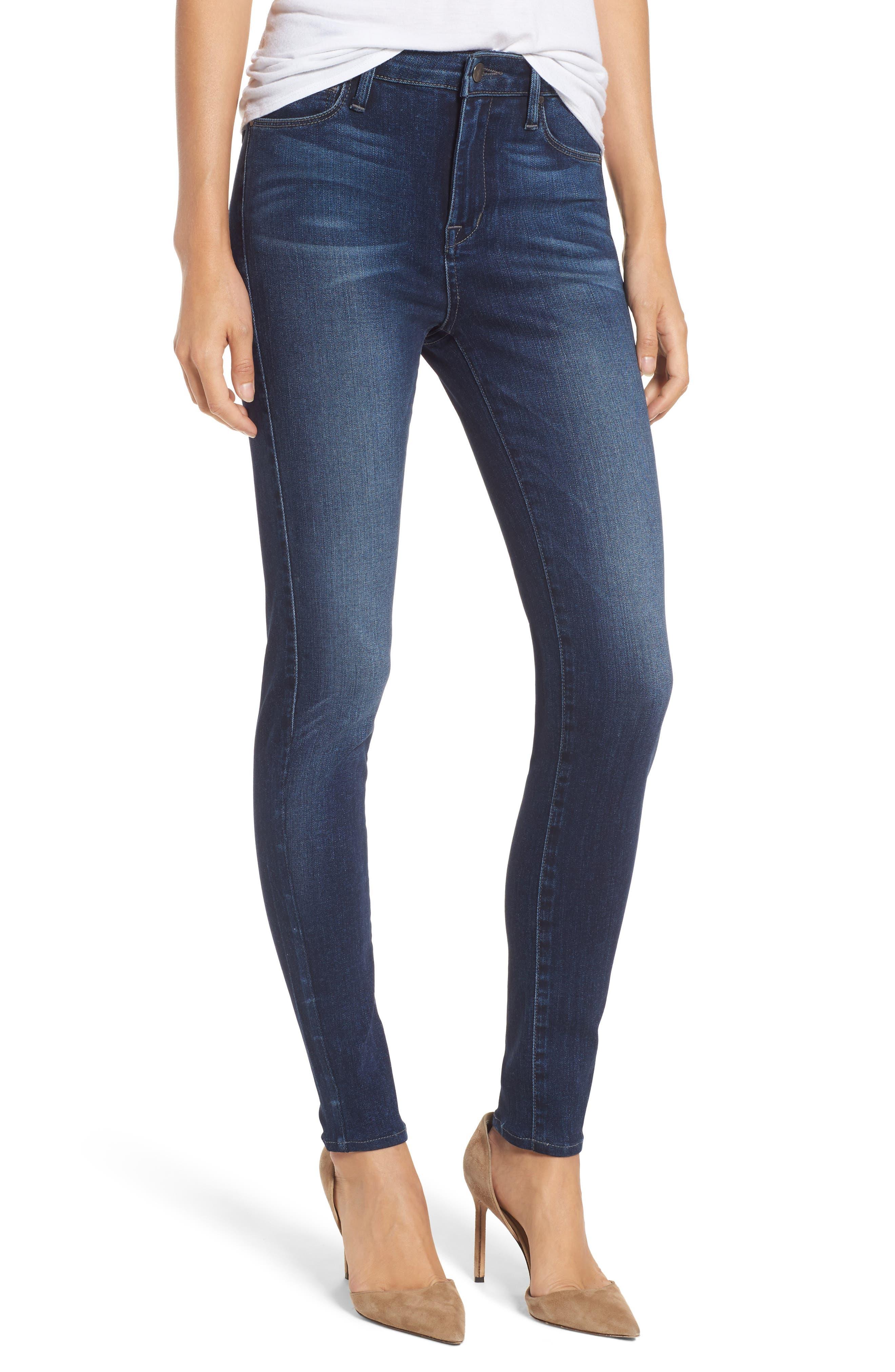 Fidelity Denim Gwen High Waist Skinny Jeans (Blue Suede)