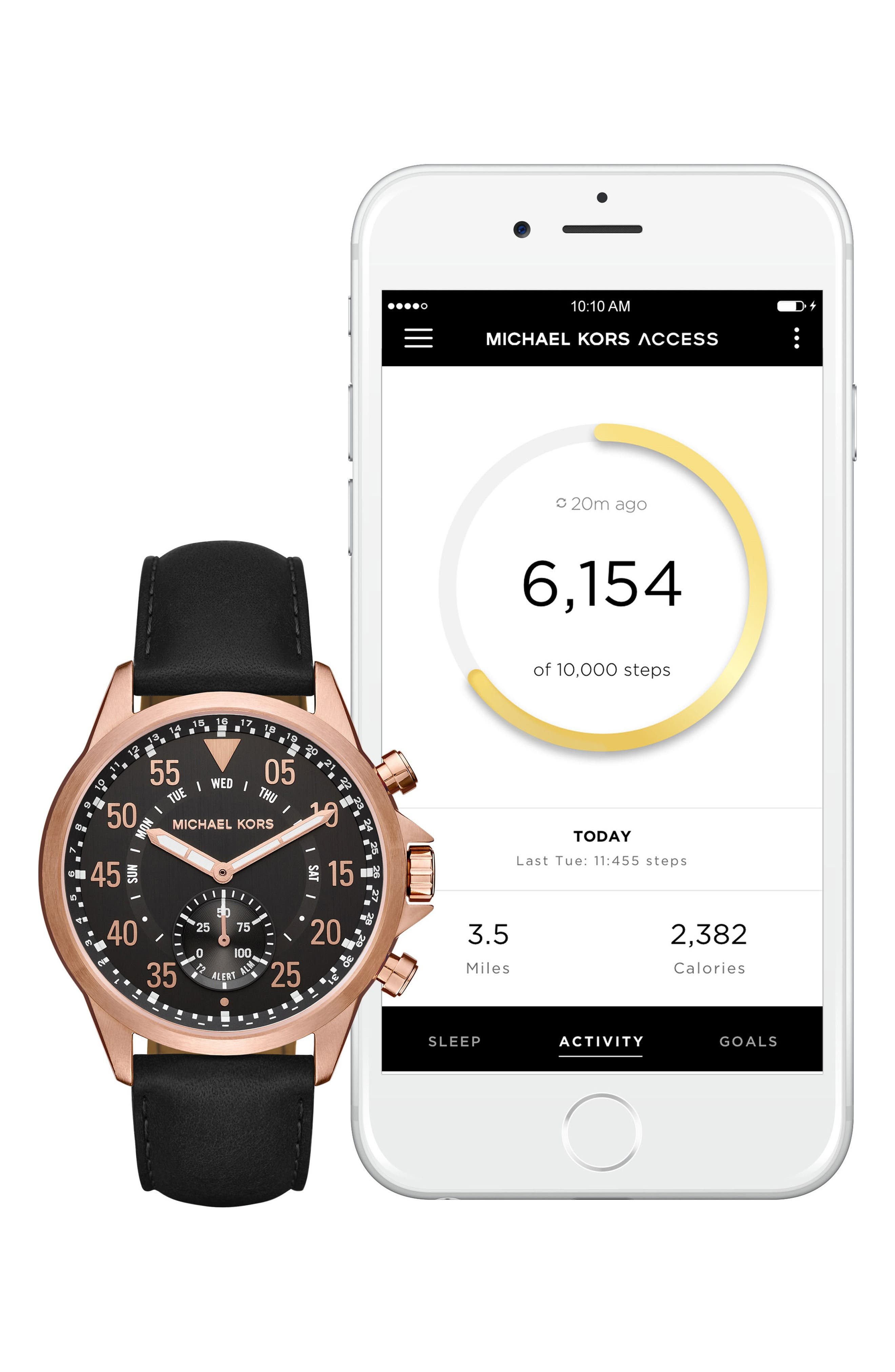 Michael Kors Gage Leather Strap Smart Watch, 45mm,                             Alternate thumbnail 4, color,                             Black/ Rose Gold