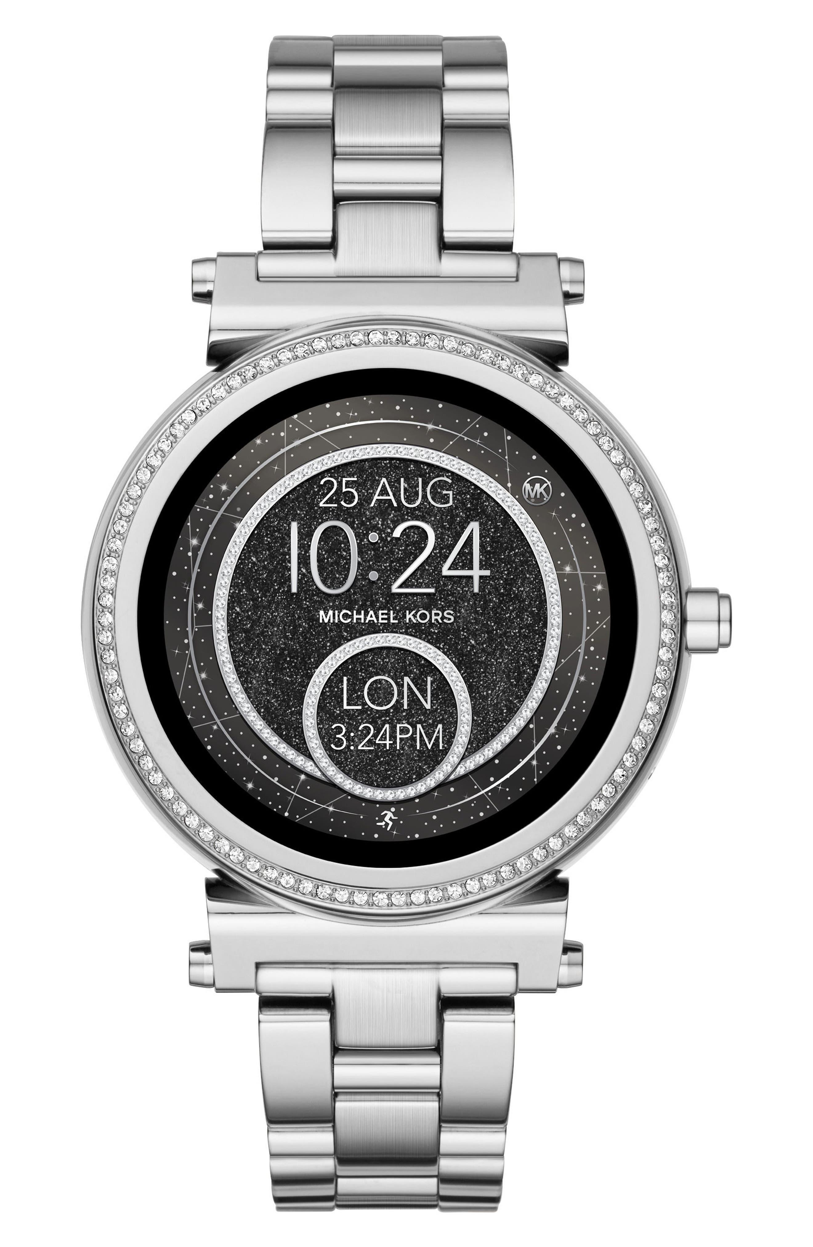 Sofie Smart Bracelet Watch, 42mm,                             Alternate thumbnail 3, color,                             Silver/ Black/ Silver