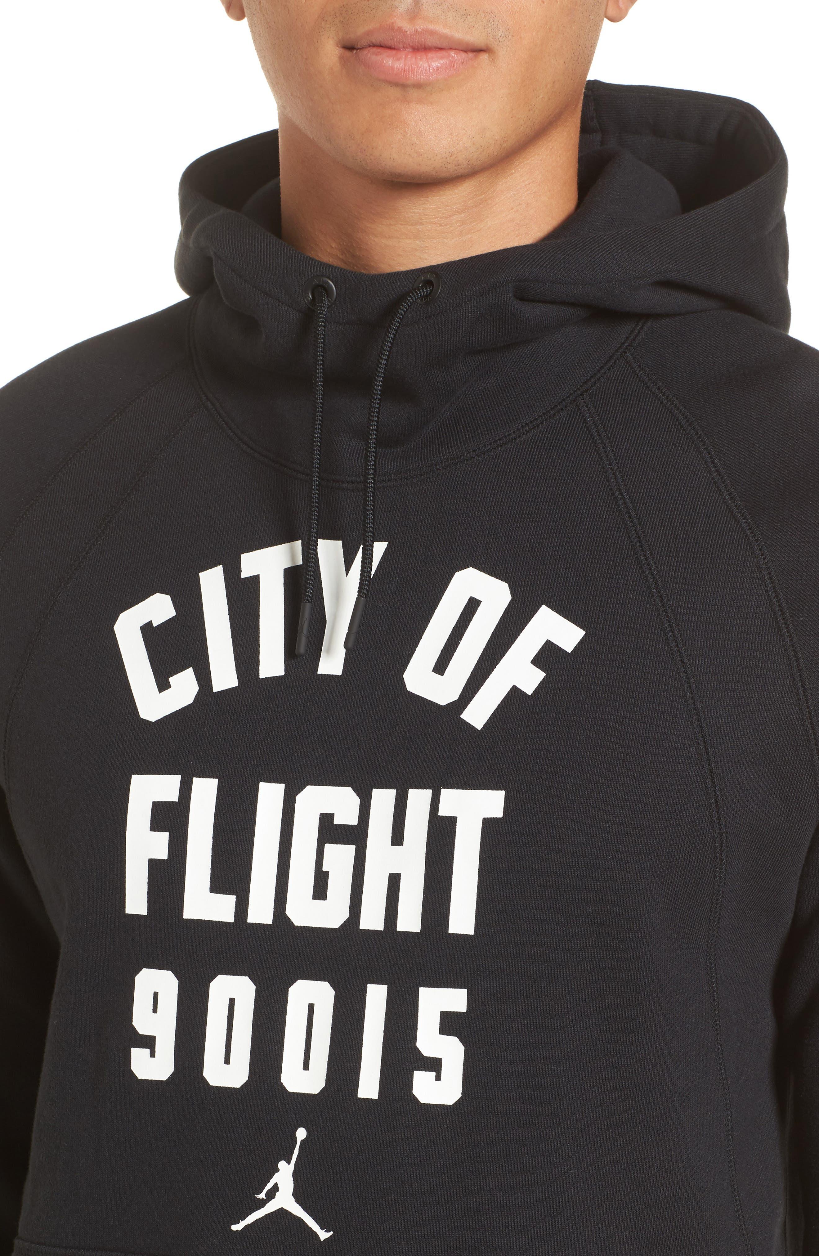 Wings City of Flight Fleece Hoodie,                             Alternate thumbnail 4, color,                             Black/ White/ La