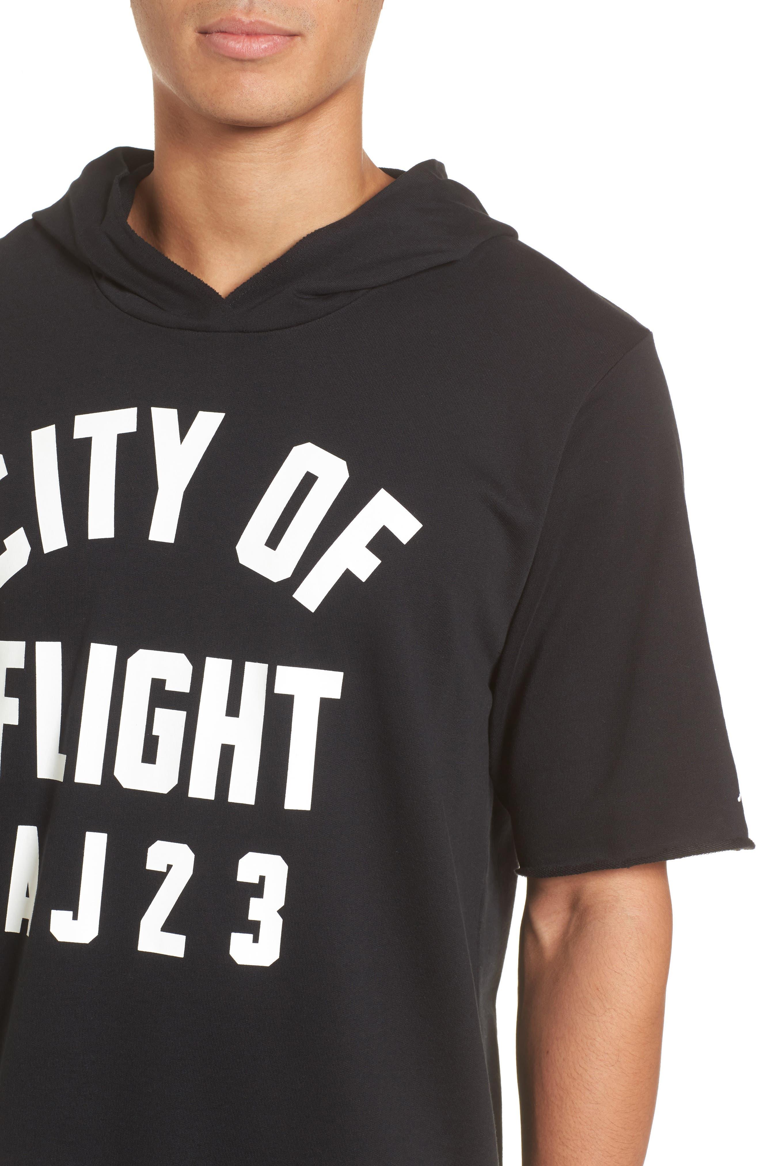 Sportswear City of Flight Hooded T-Shirt,                             Alternate thumbnail 4, color,                             Black/ White