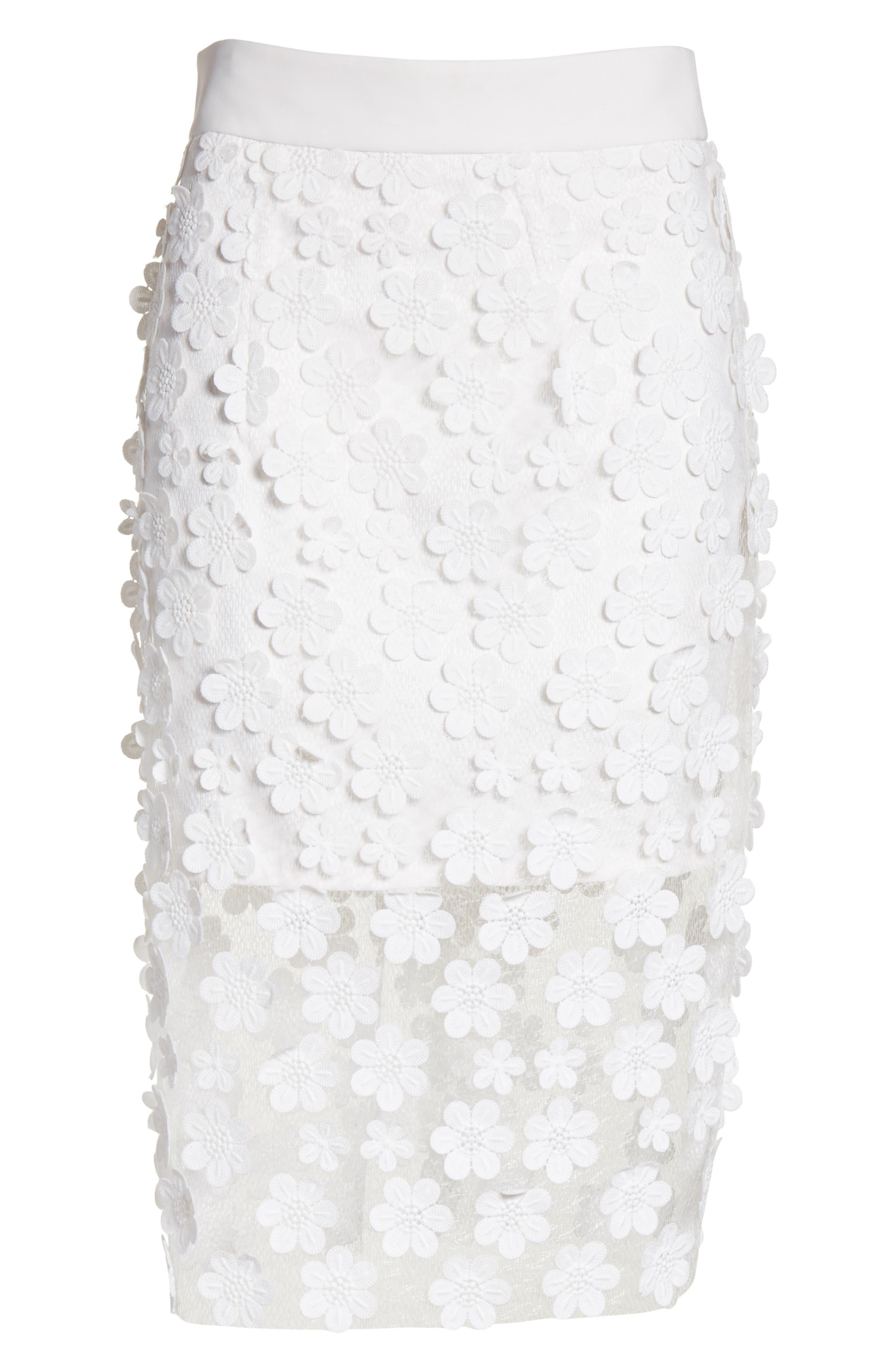 Floral Appliqué Skirt,                             Alternate thumbnail 6, color,                             White