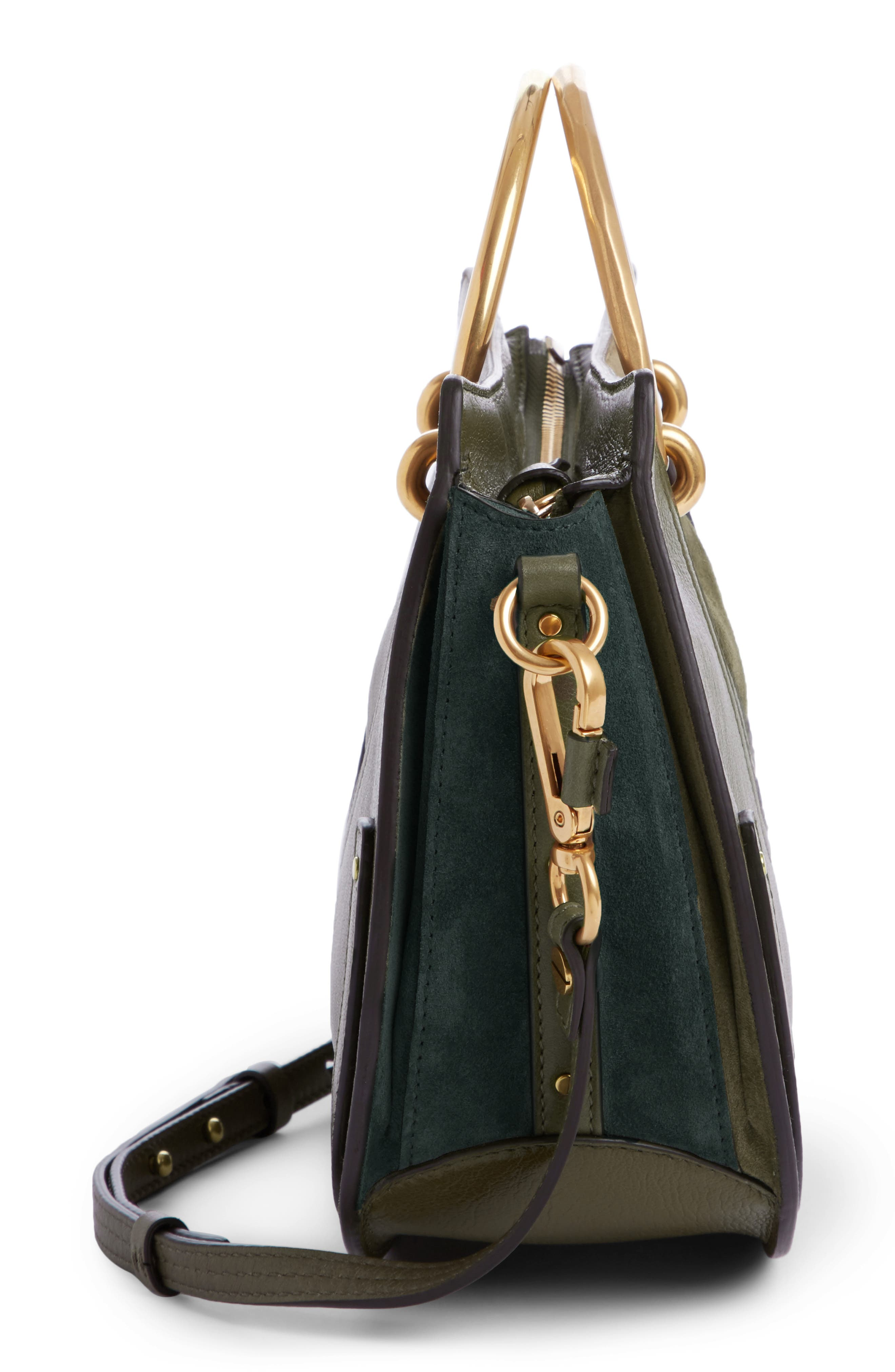 Medium Pixie Top Handle Leather Satchel,                             Alternate thumbnail 3, color,                             Intense Green